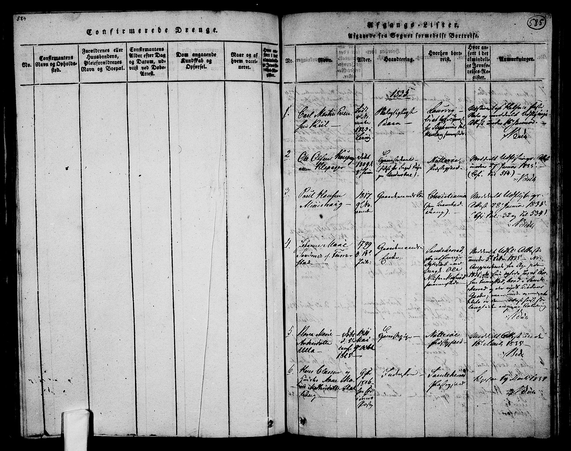 SAKO, Tjølling kirkebøker, F/Fa/L0005: Ministerialbok nr. 5, 1814-1836, s. 584-585