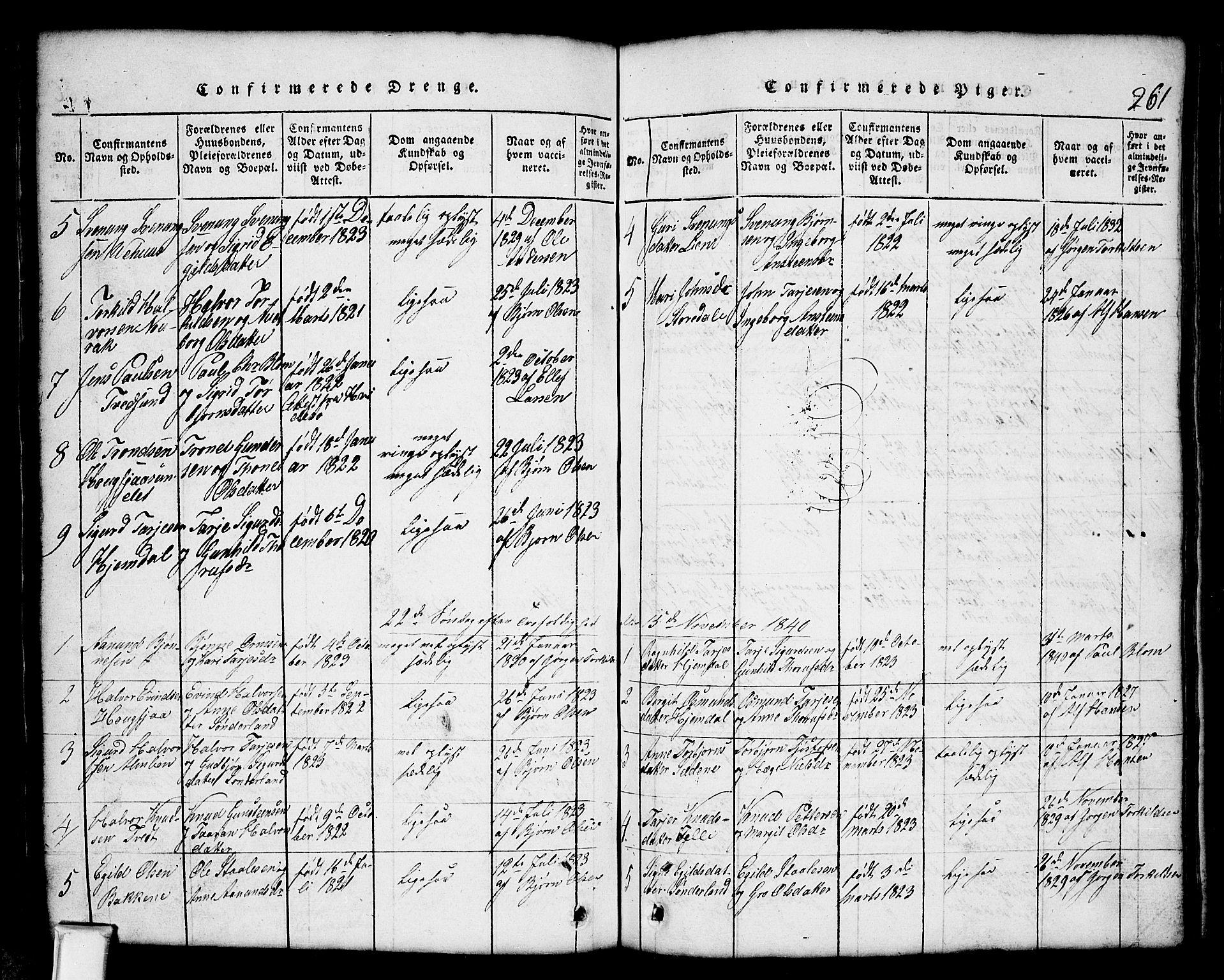 SAKO, Nissedal kirkebøker, G/Gb/L0001: Klokkerbok nr. II 1, 1814-1862, s. 261