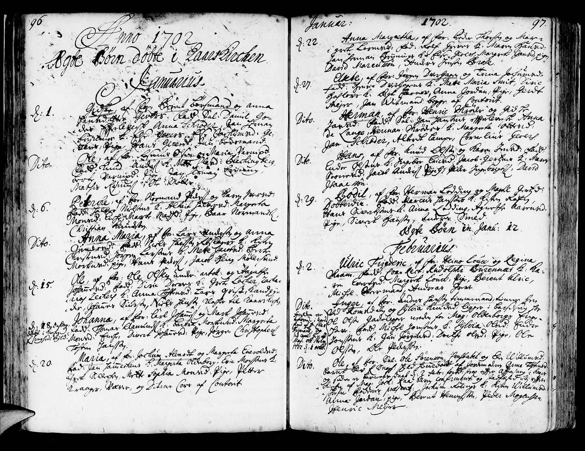 SAB, Korskirken Sokneprestembete, H/Haa/L0003: Ministerialbok nr. A 3, 1698-1719, s. 96-97