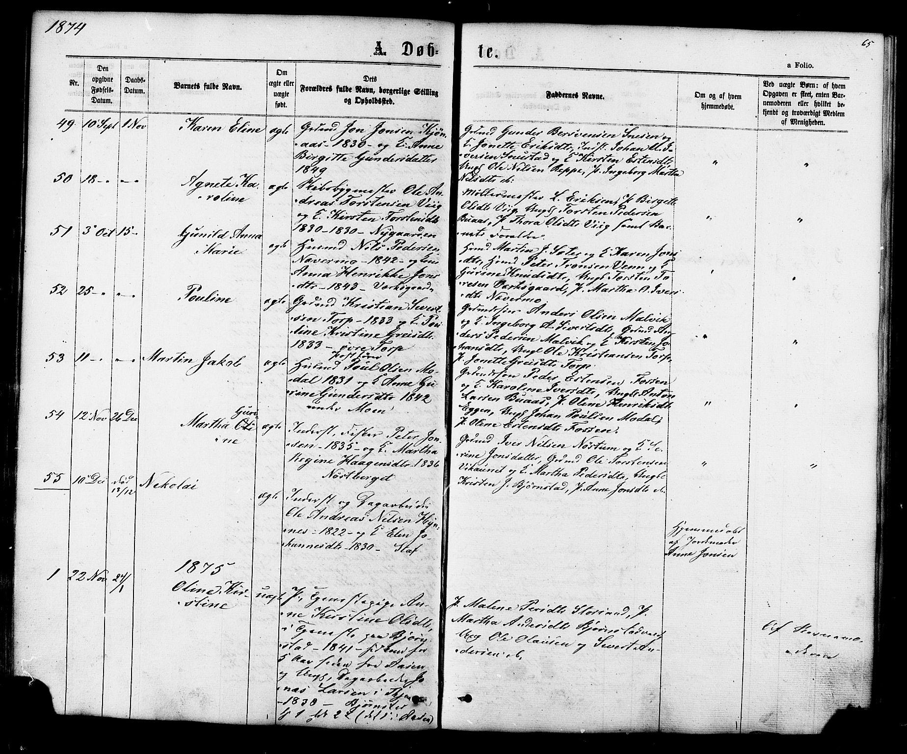 SAT, Ministerialprotokoller, klokkerbøker og fødselsregistre - Sør-Trøndelag, 616/L0409: Ministerialbok nr. 616A06, 1865-1877, s. 65