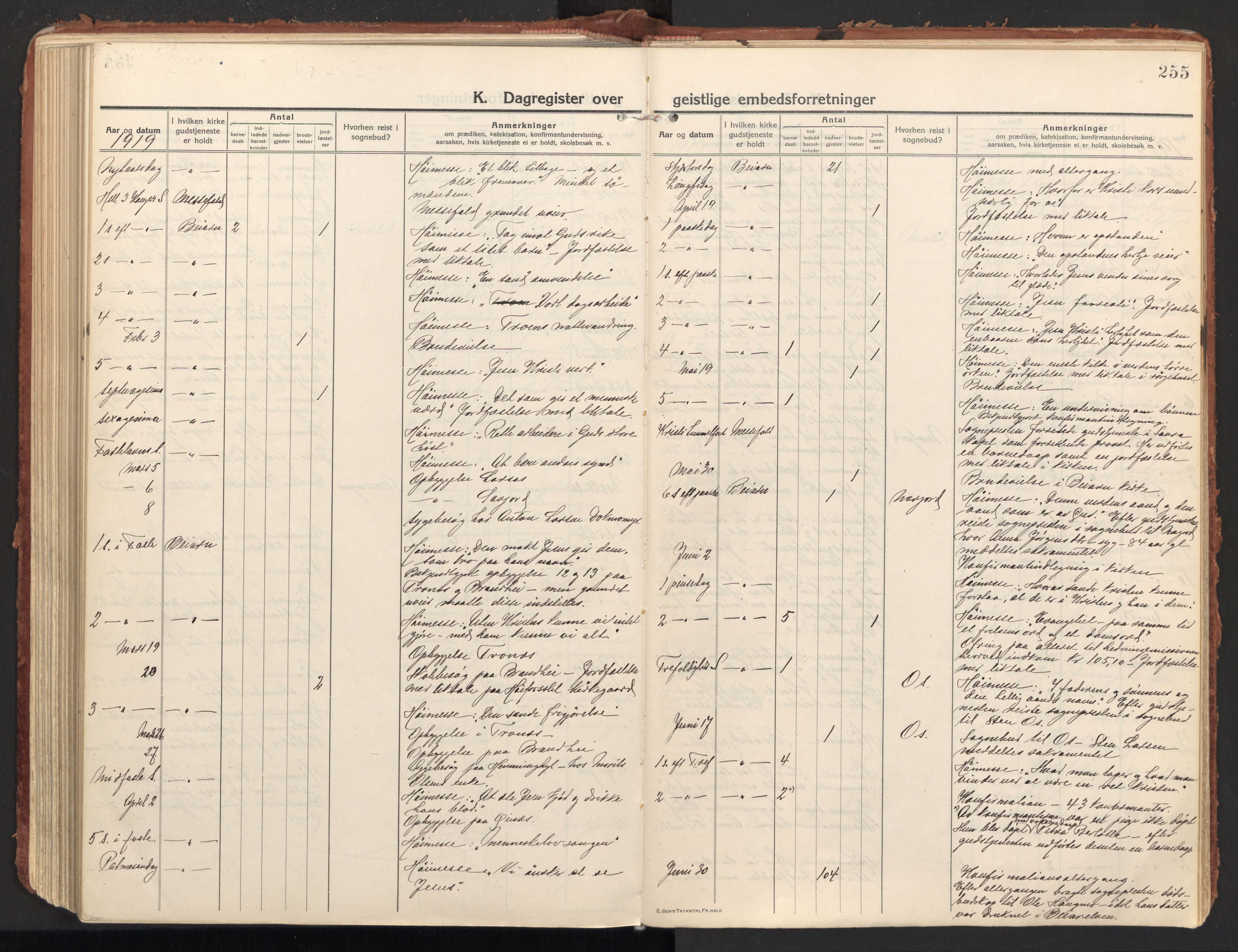 SAT, Ministerialprotokoller, klokkerbøker og fødselsregistre - Nordland, 846/L0650: Ministerialbok nr. 846A08, 1916-1935, s. 255