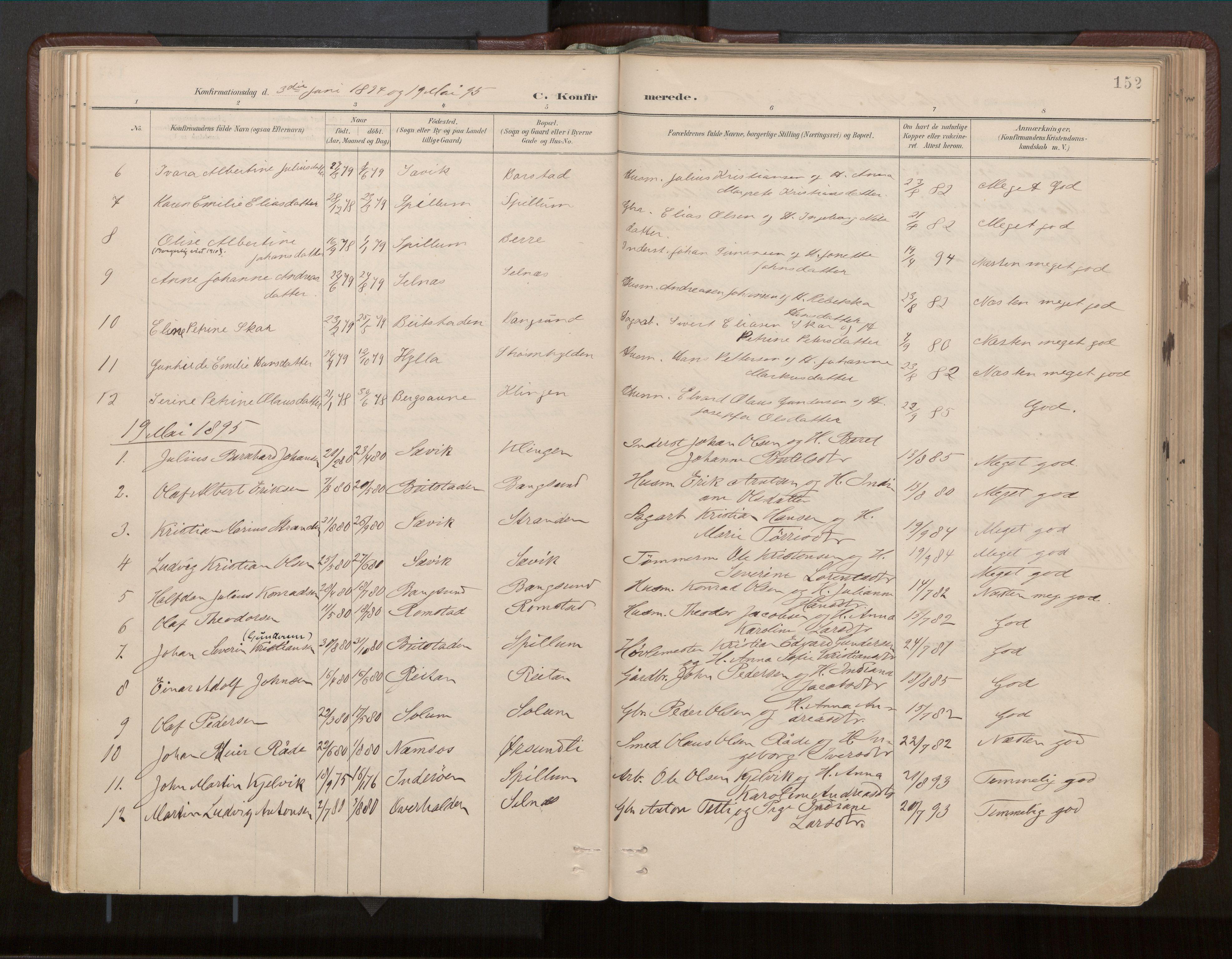 SAT, Ministerialprotokoller, klokkerbøker og fødselsregistre - Nord-Trøndelag, 770/L0589: Ministerialbok nr. 770A03, 1887-1929, s. 152