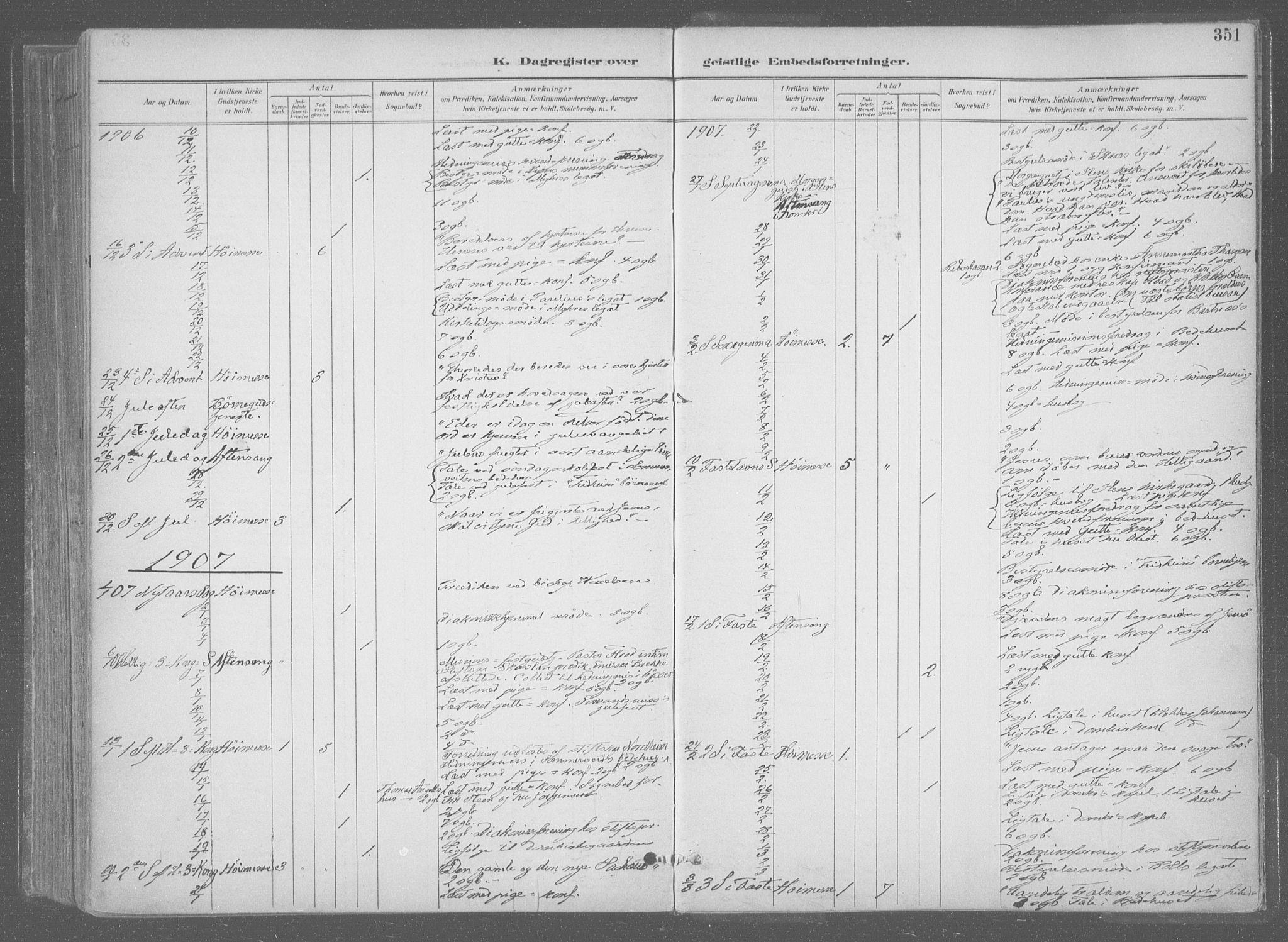 SAT, Ministerialprotokoller, klokkerbøker og fødselsregistre - Sør-Trøndelag, 601/L0064: Ministerialbok nr. 601A31, 1891-1911, s. 351