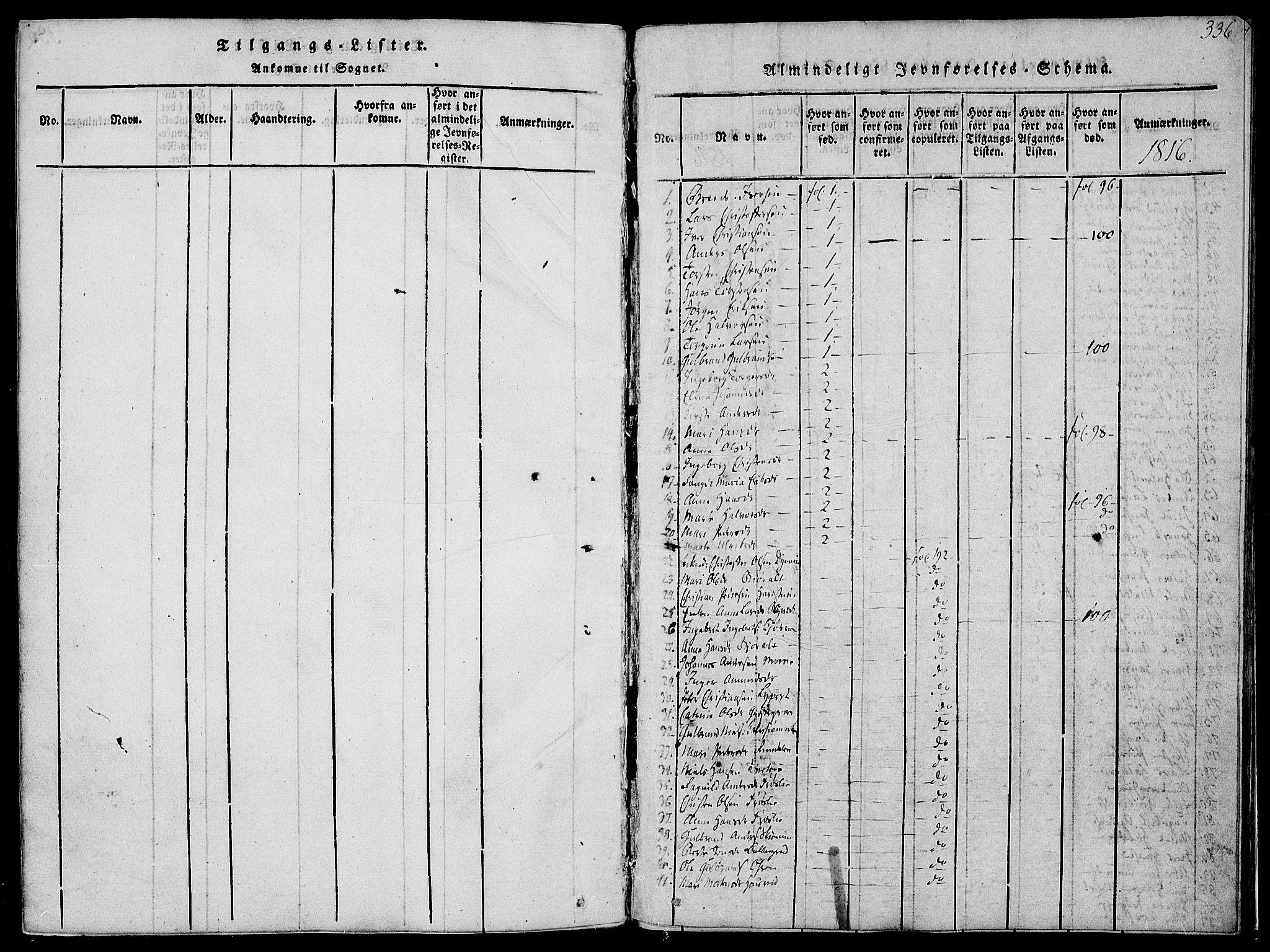 SAH, Jevnaker prestekontor, Ministerialbok nr. 5, 1815-1837, s. 336