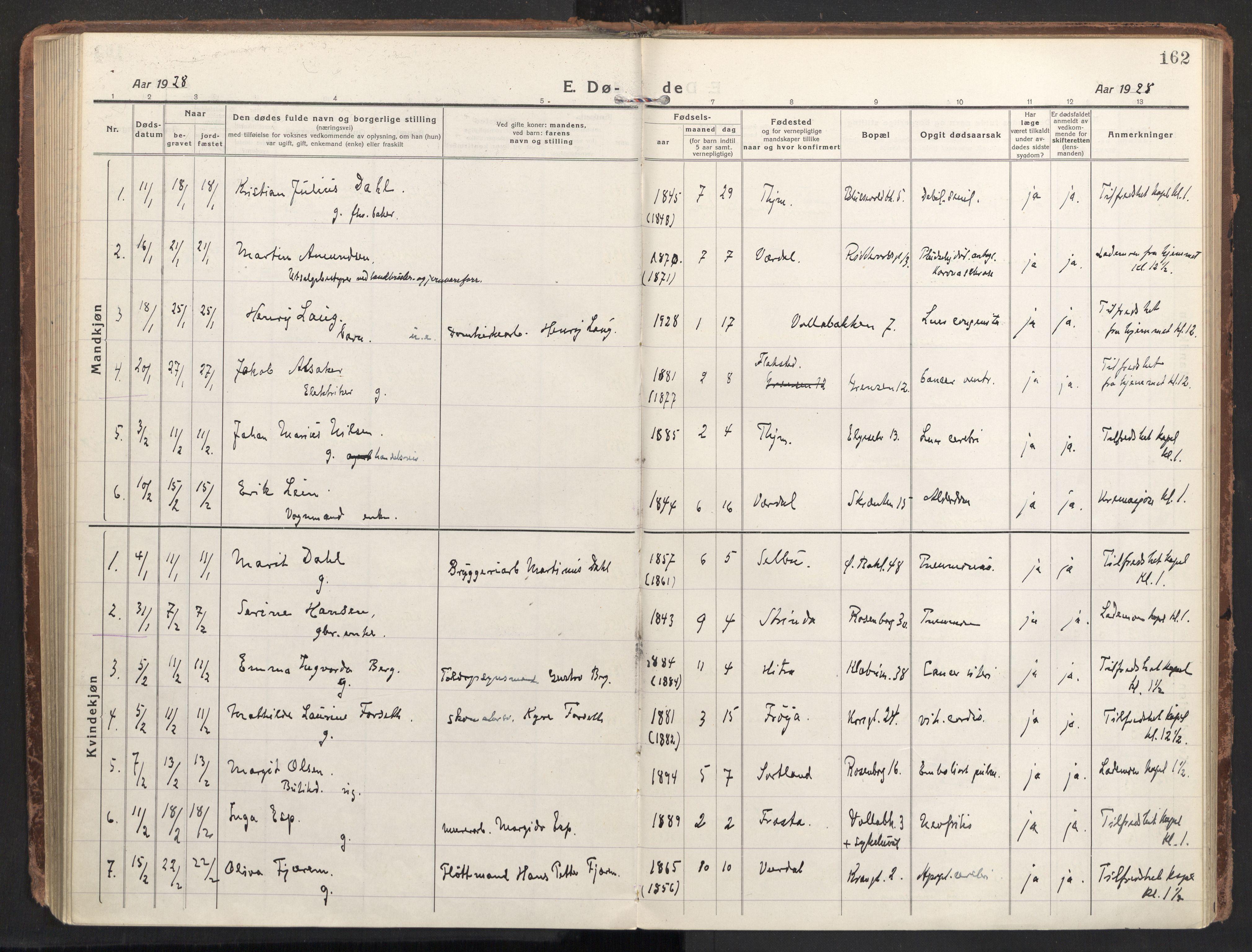 SAT, Ministerialprotokoller, klokkerbøker og fødselsregistre - Sør-Trøndelag, 604/L0207: Ministerialbok nr. 604A27, 1917-1933, s. 162