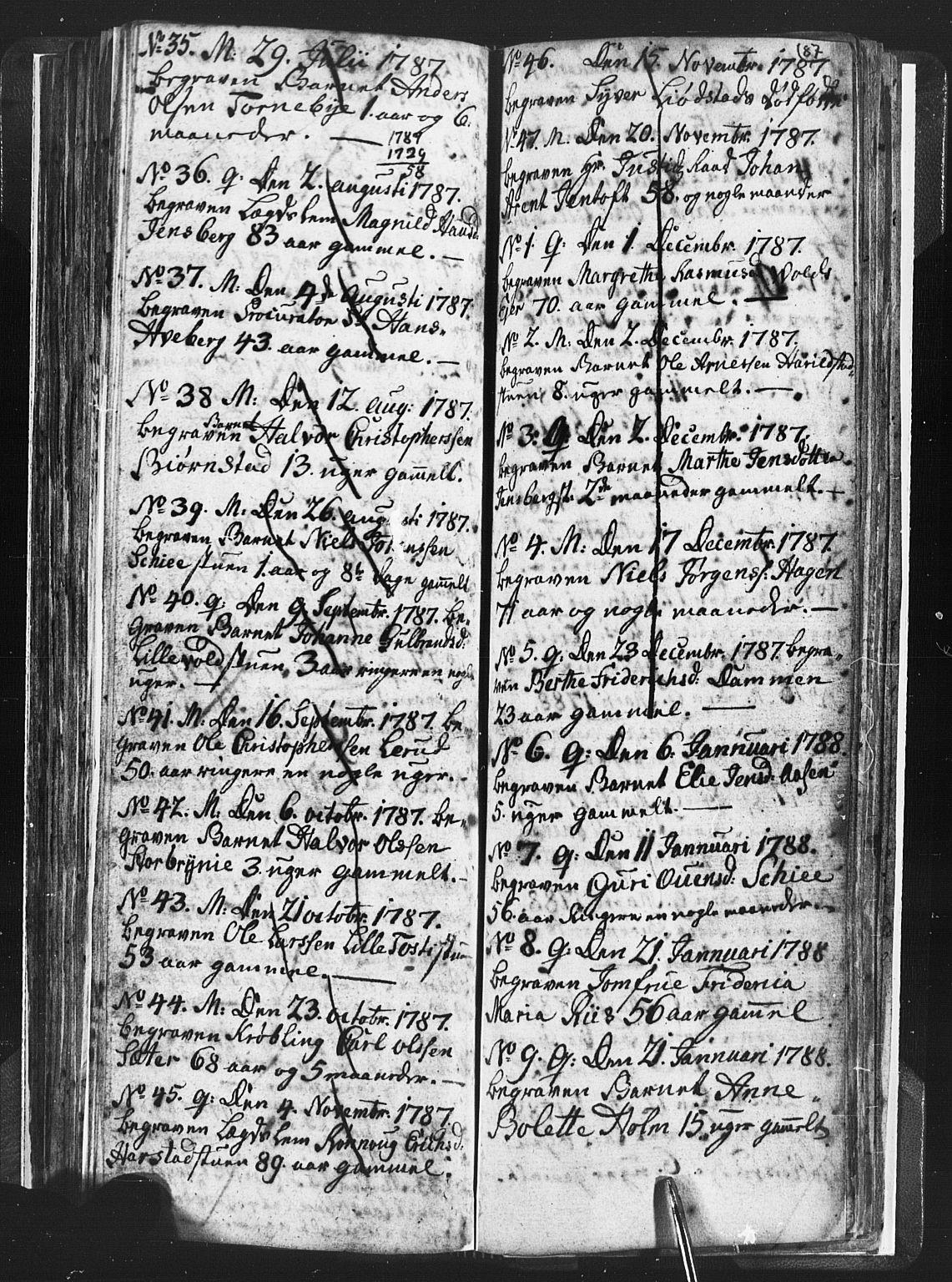 SAH, Romedal prestekontor, L/L0001: Klokkerbok nr. 1, 1785-1794, s. 87