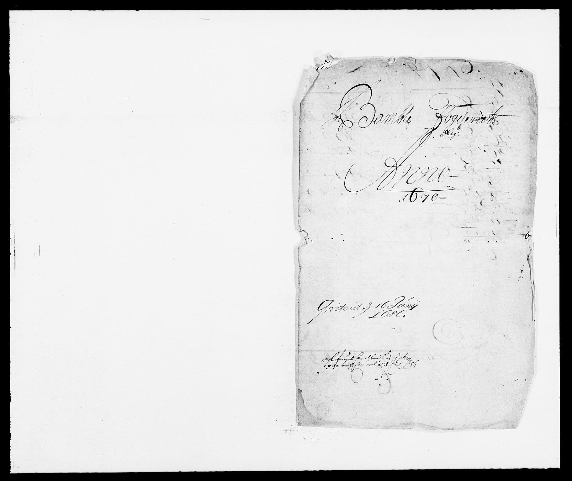 RA, Rentekammeret inntil 1814, Reviderte regnskaper, Fogderegnskap, R34/L2041: Fogderegnskap Bamble, 1670-1672, s. 1