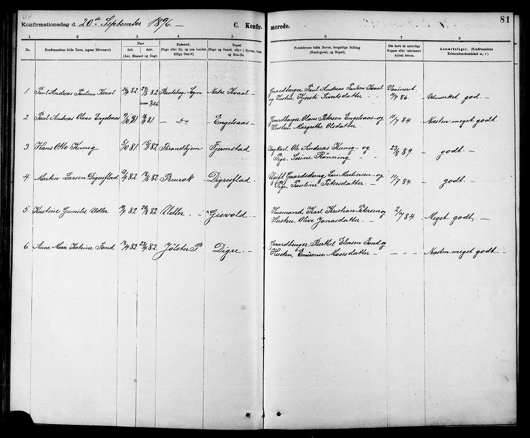 SAT, Ministerialprotokoller, klokkerbøker og fødselsregistre - Sør-Trøndelag, 608/L0341: Klokkerbok nr. 608C07, 1890-1912, s. 81