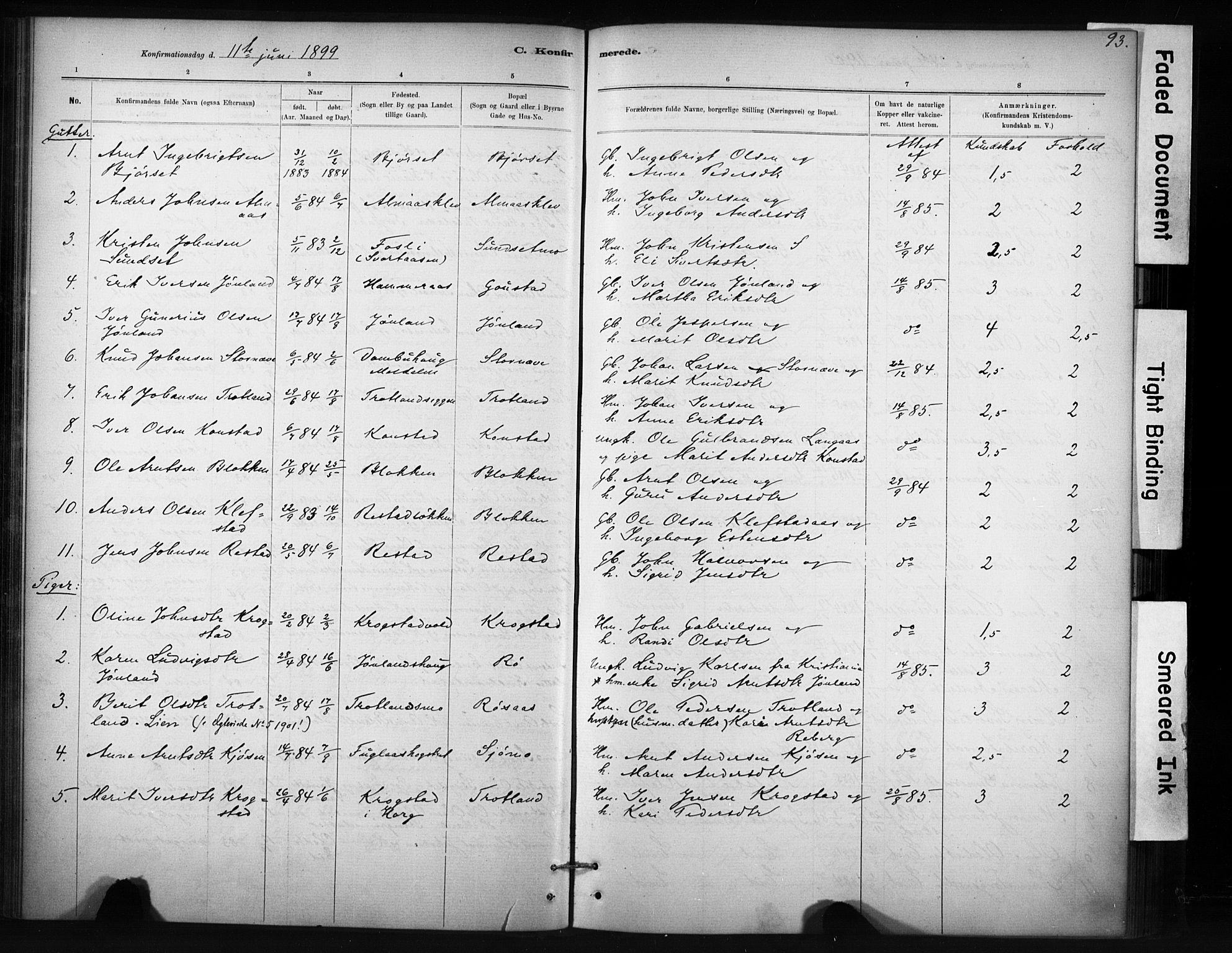 SAT, Ministerialprotokoller, klokkerbøker og fødselsregistre - Sør-Trøndelag, 694/L1127: Ministerialbok nr. 694A01, 1887-1905, s. 93