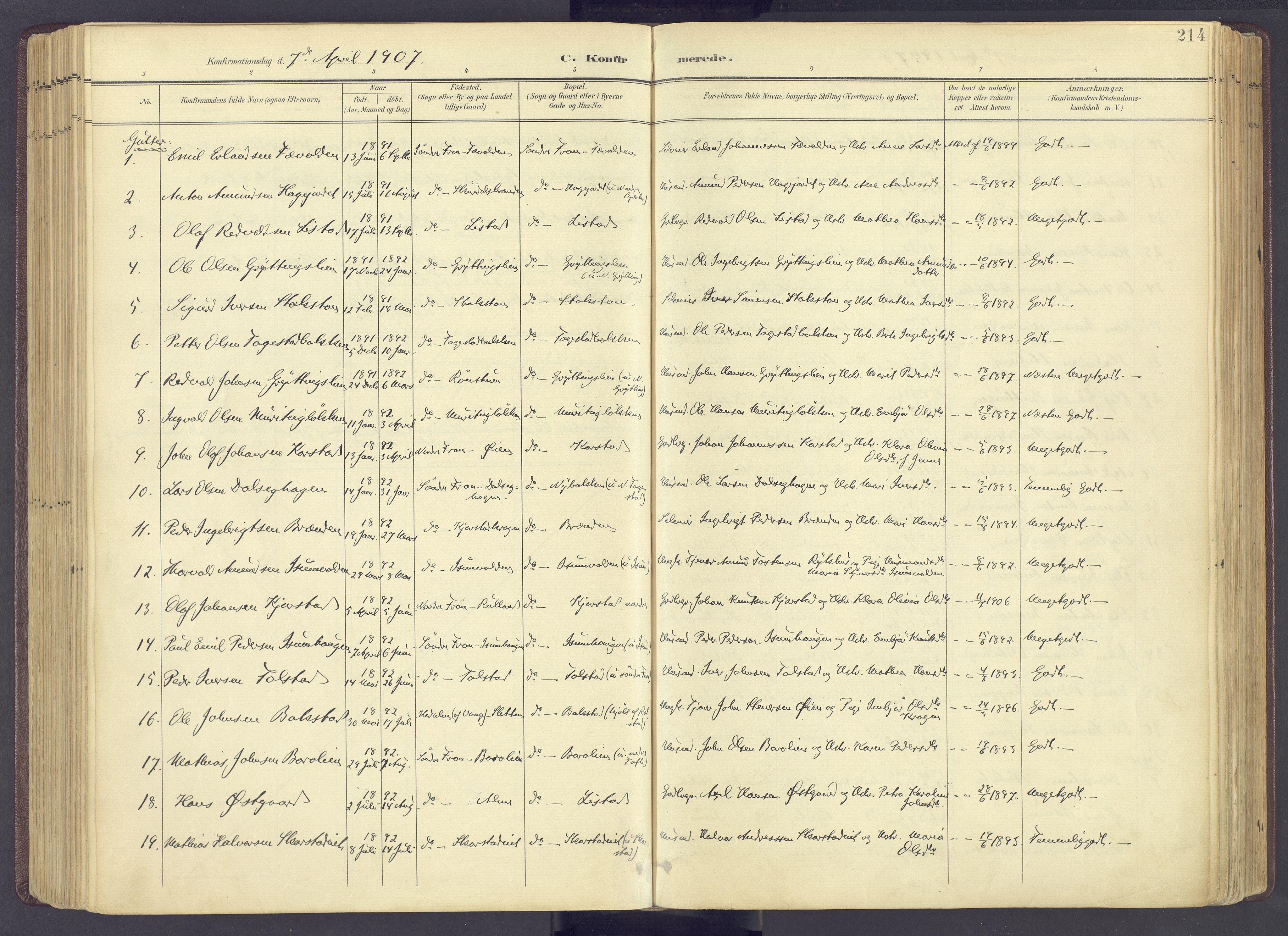SAH, Sør-Fron prestekontor, H/Ha/Haa/L0004: Ministerialbok nr. 4, 1898-1919, s. 214