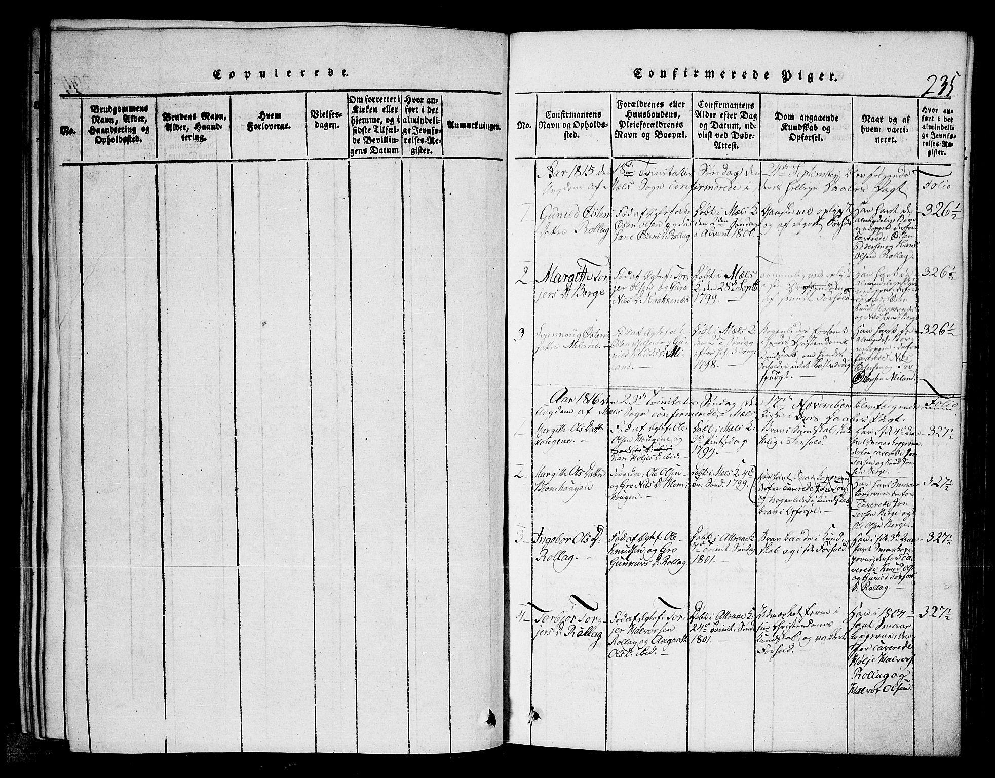 SAKO, Tinn kirkebøker, G/Gb/L0001: Klokkerbok nr. II 1 /1, 1815-1850, s. 235