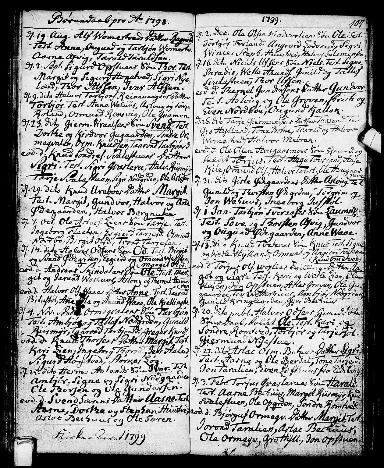 SAKO, Vinje kirkebøker, F/Fa/L0002: Ministerialbok nr. I 2, 1767-1814, s. 107
