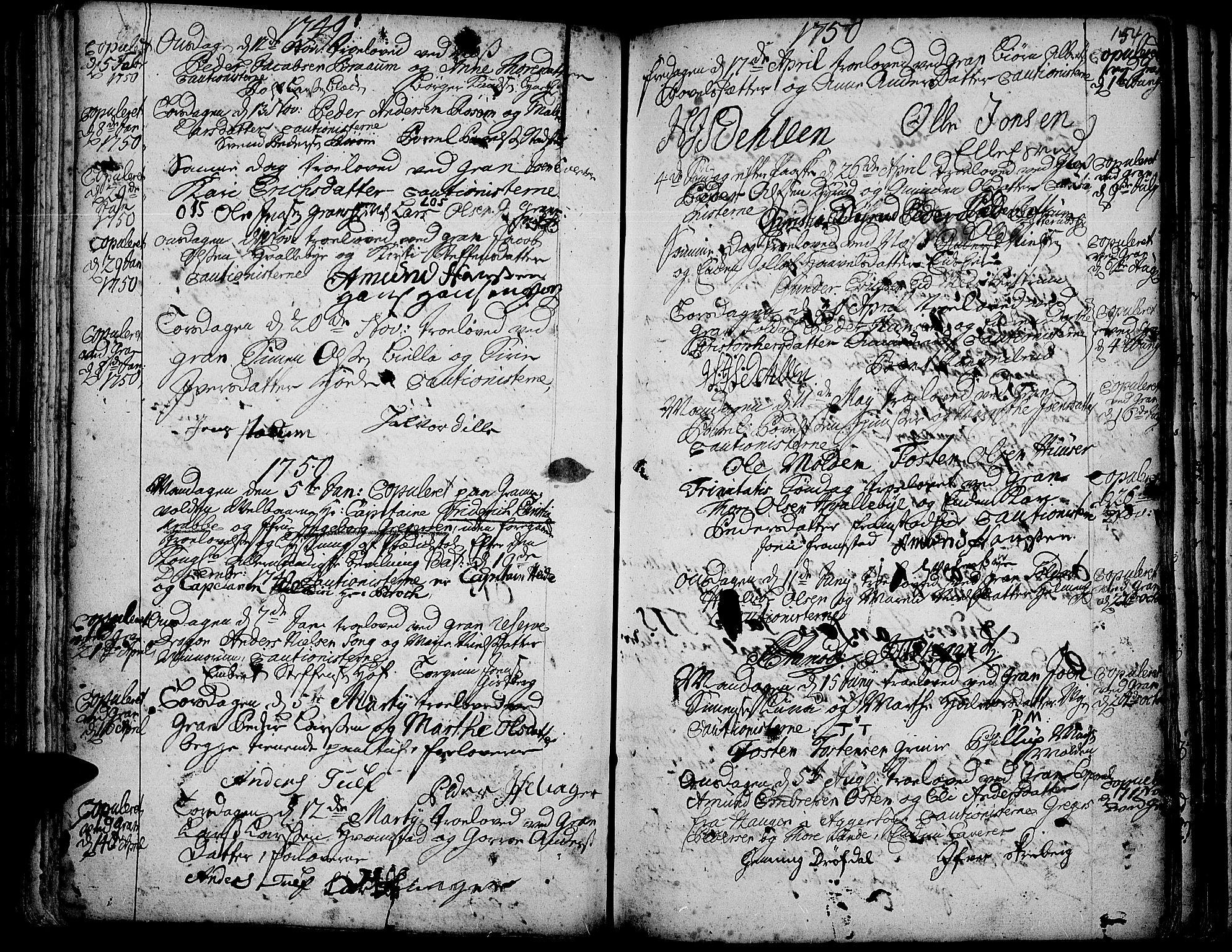 SAH, Gran prestekontor, Ministerialbok nr. 3, 1745-1758, s. 154