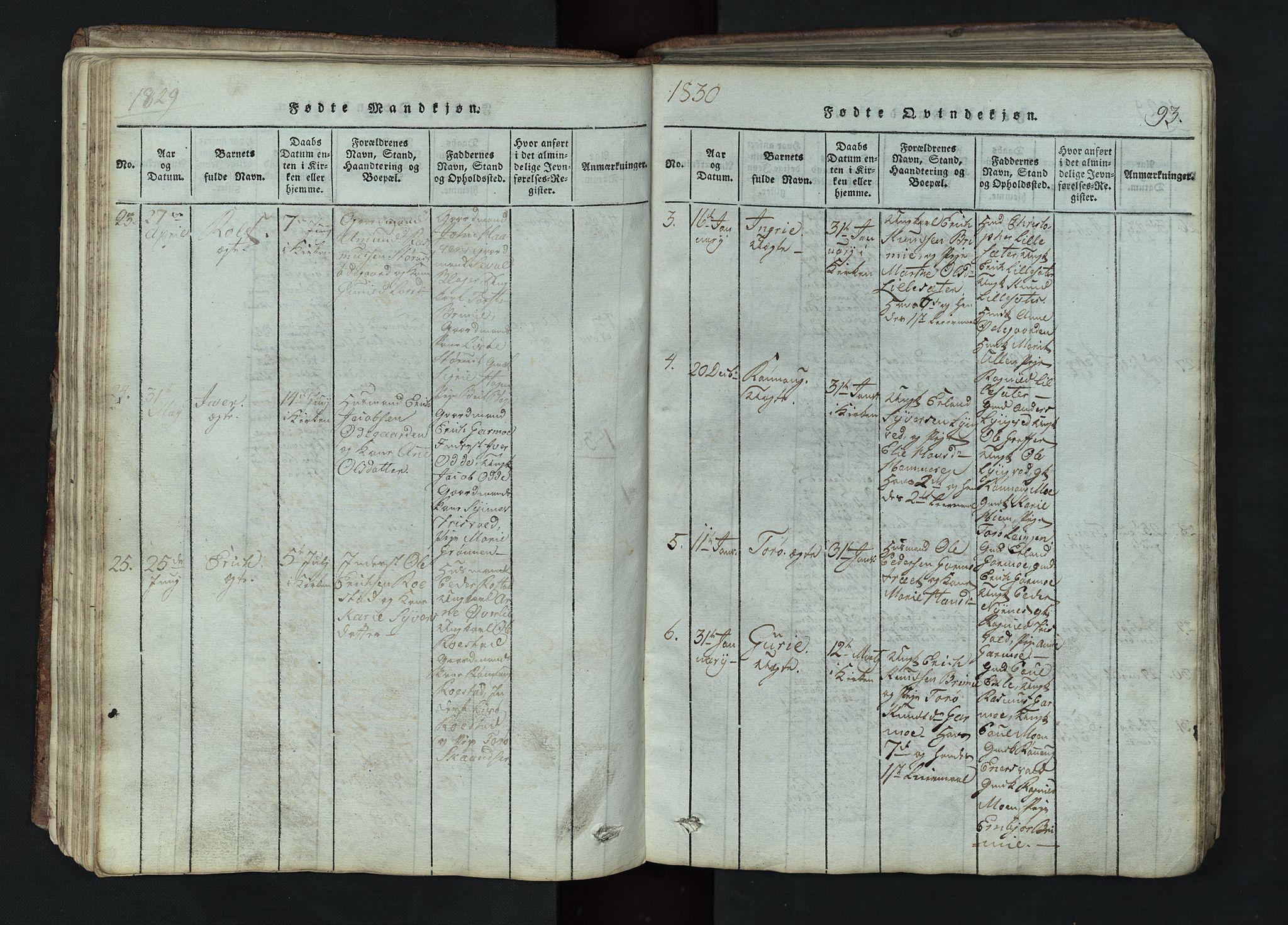 SAH, Lom prestekontor, L/L0002: Klokkerbok nr. 2, 1815-1844, s. 93