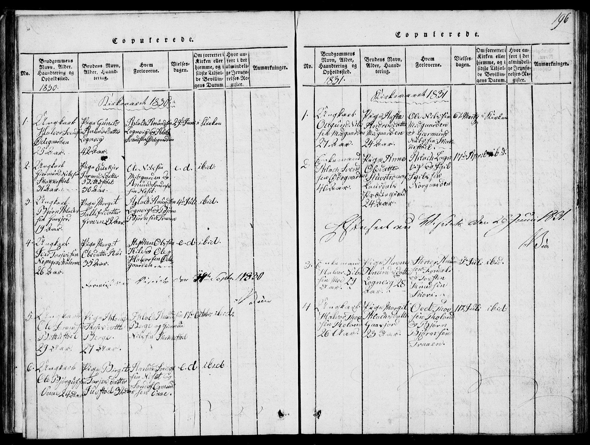 SAKO, Rauland kirkebøker, G/Ga/L0001: Klokkerbok nr. I 1, 1814-1843, s. 196