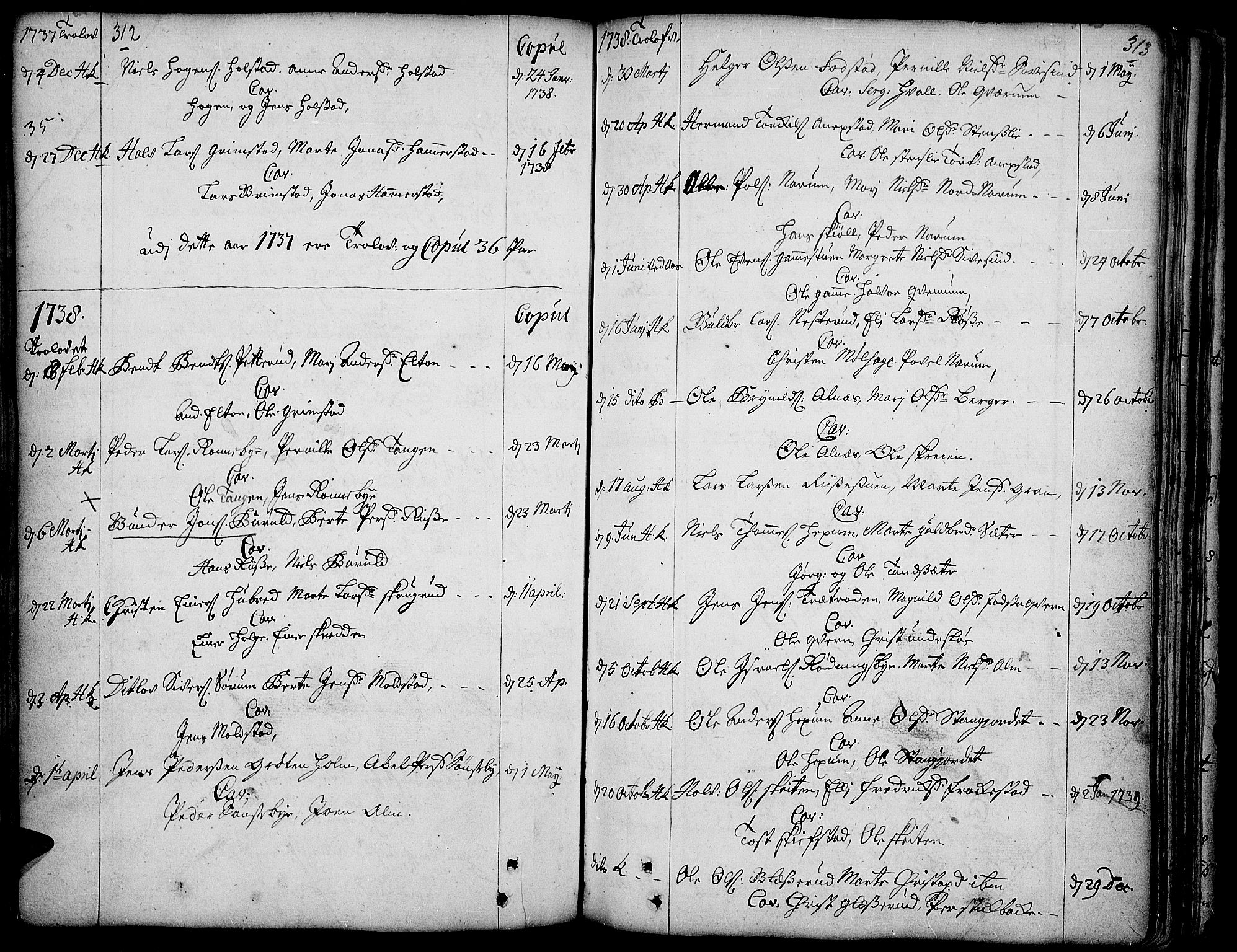SAH, Toten prestekontor, Ministerialbok nr. 3, 1734-1751, s. 312-313
