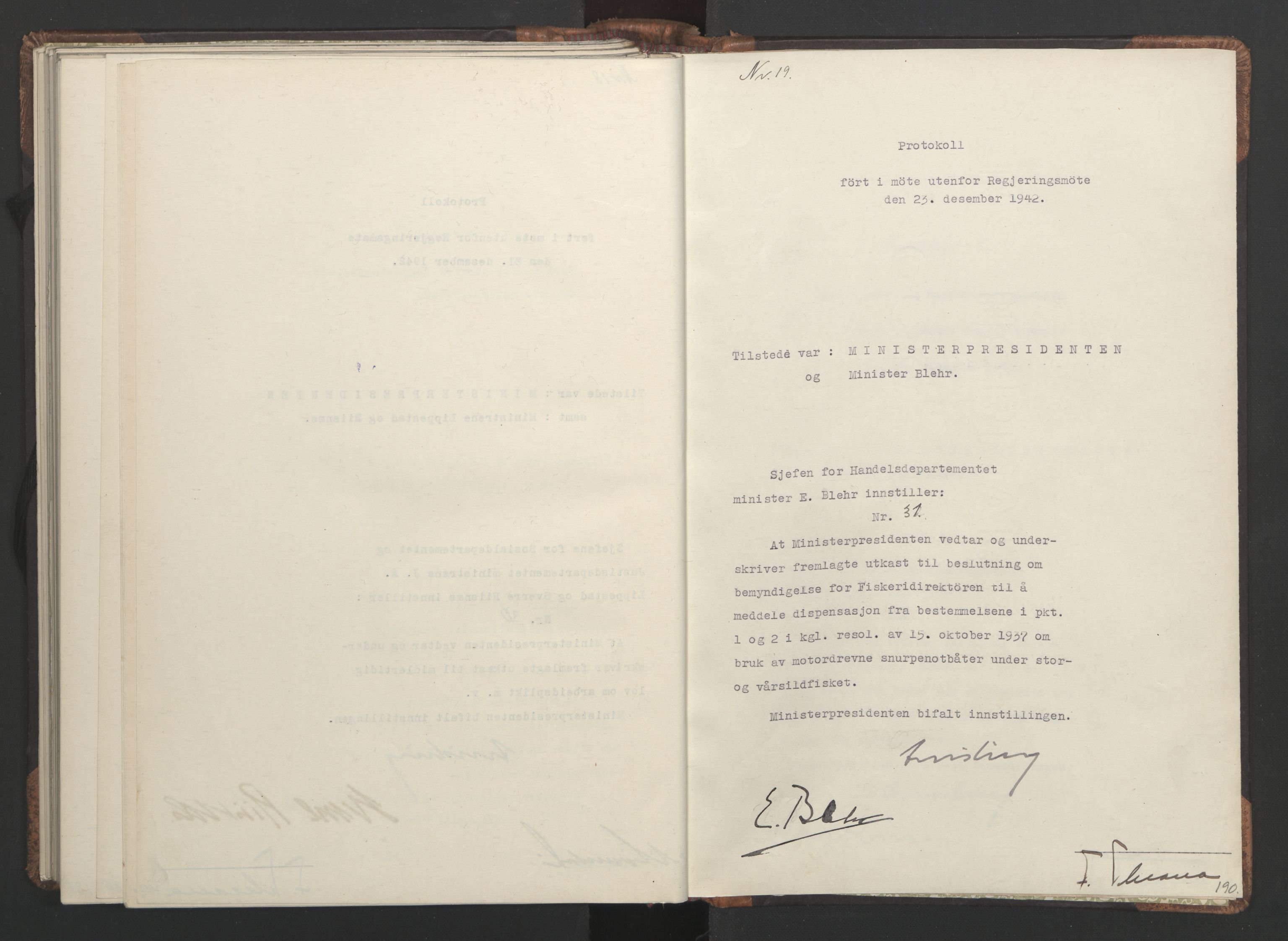 RA, NS-administrasjonen 1940-1945 (Statsrådsekretariatet, de kommisariske statsråder mm), D/Da/L0001: Beslutninger og tillegg (1-952 og 1-32), 1942, s. 189b-190a