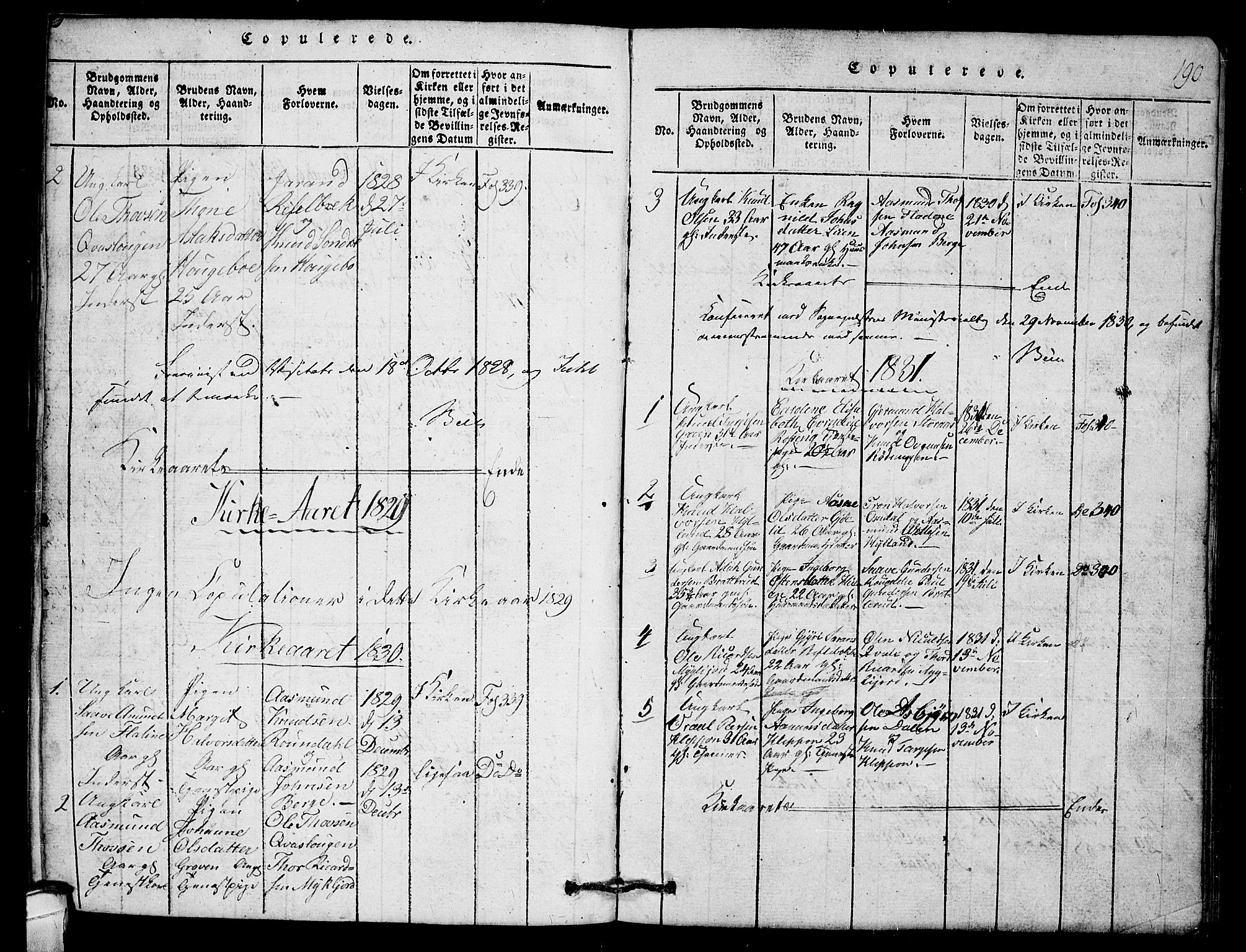 SAKO, Lårdal kirkebøker, G/Gb/L0001: Klokkerbok nr. II 1, 1815-1865, s. 190