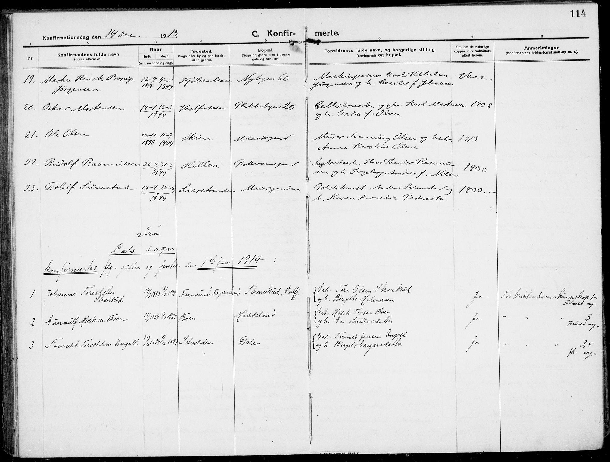 SAKO, Rjukan kirkebøker, F/Fa/L0002: Ministerialbok nr. 2, 1912-1917, s. 114