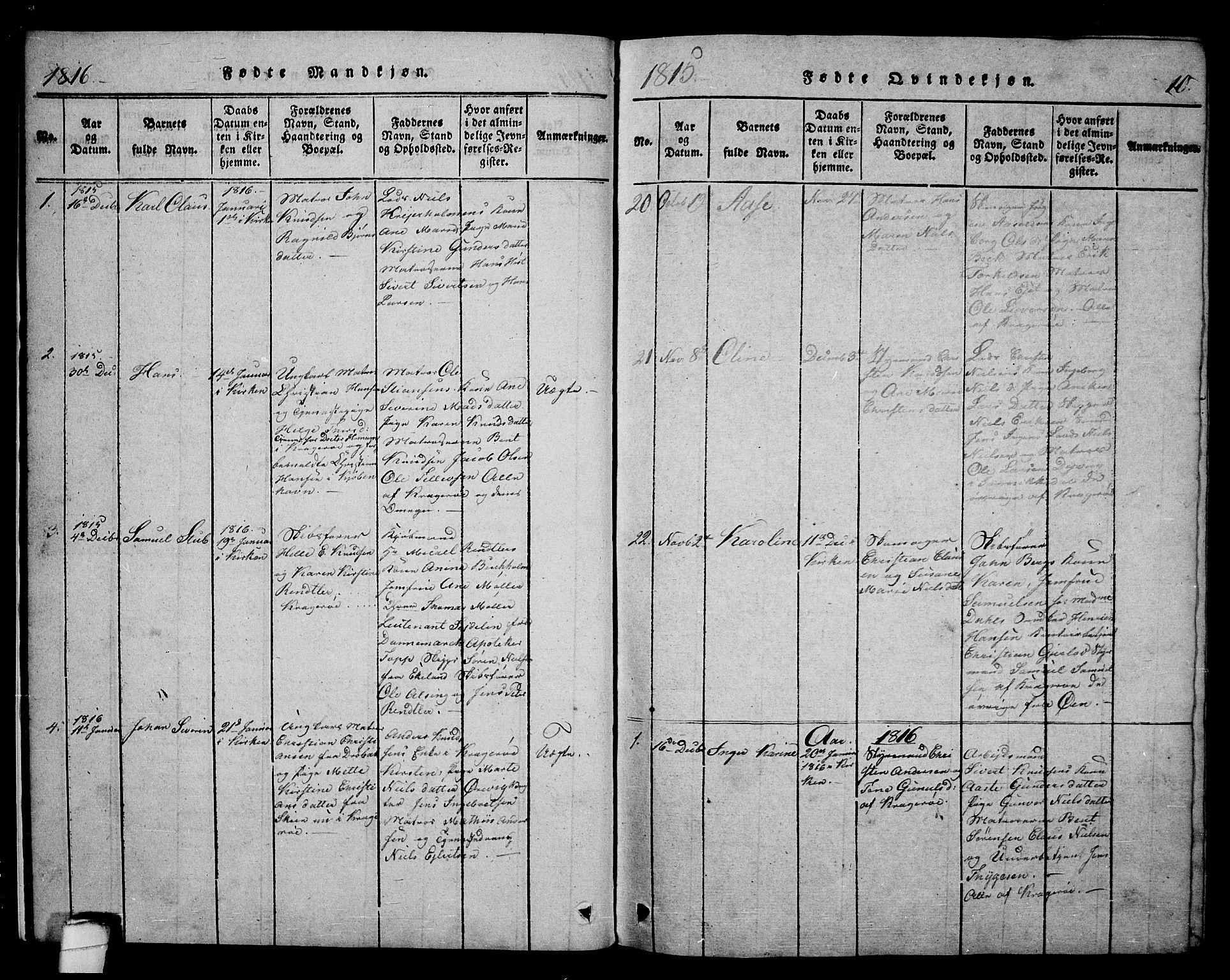 SAKO, Kragerø kirkebøker, F/Fa/L0004: Ministerialbok nr. 4, 1814-1831, s. 10