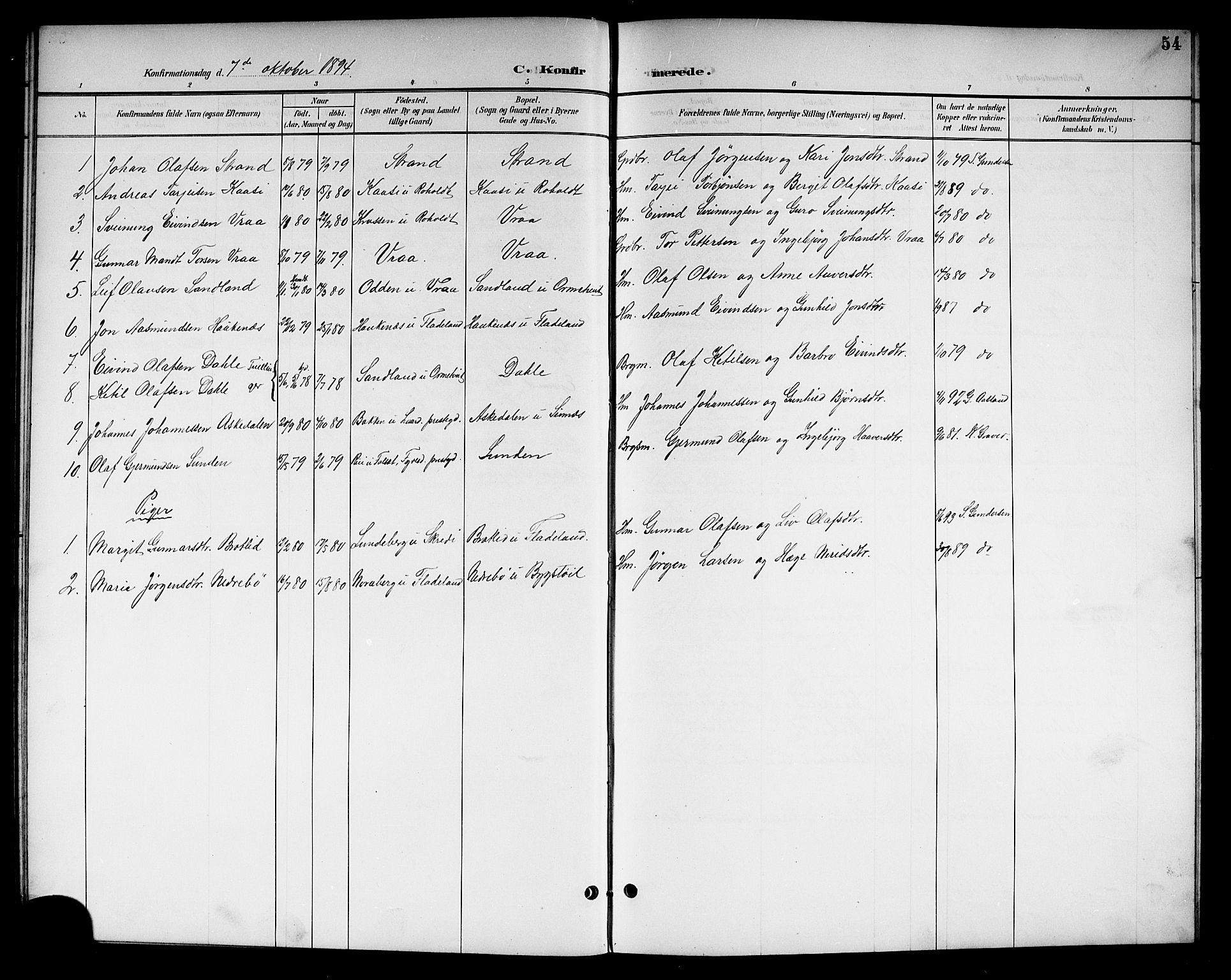 SAKO, Kviteseid kirkebøker, G/Gc/L0001: Klokkerbok nr. III 1, 1893-1916, s. 54