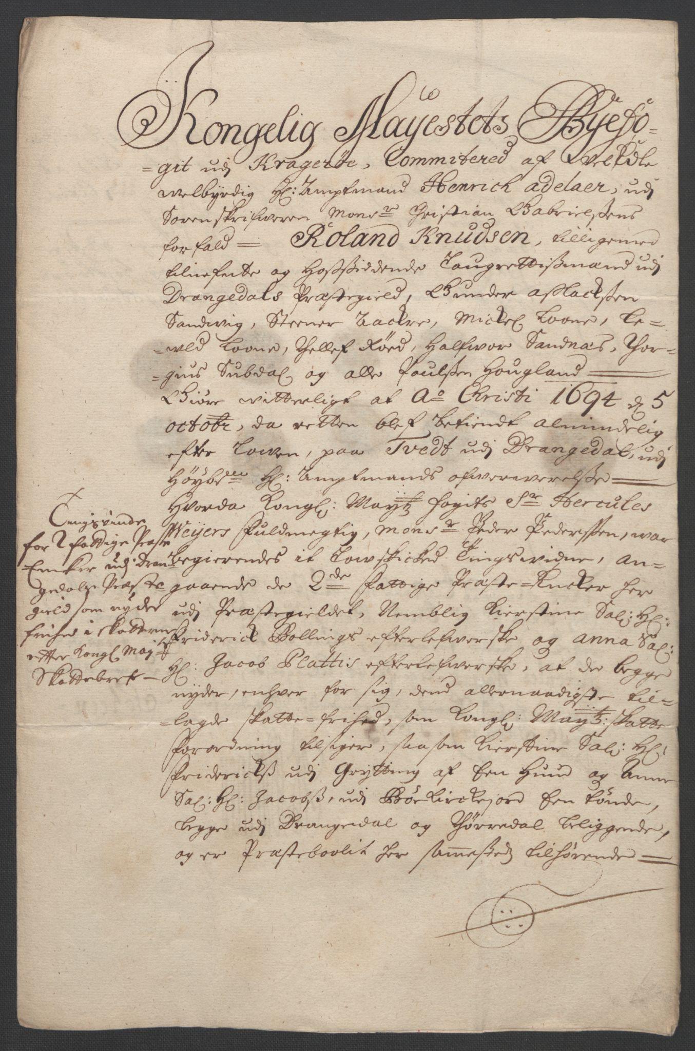 RA, Rentekammeret inntil 1814, Reviderte regnskaper, Fogderegnskap, R36/L2092: Fogderegnskap Øvre og Nedre Telemark og Bamble, 1694, s. 234