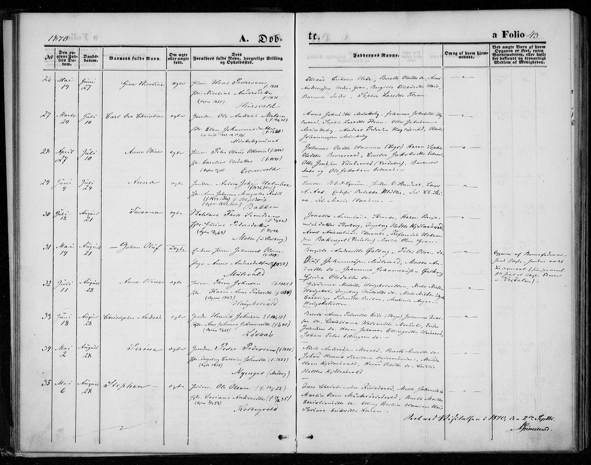 SAT, Ministerialprotokoller, klokkerbøker og fødselsregistre - Nord-Trøndelag, 721/L0206: Ministerialbok nr. 721A01, 1864-1874, s. 43
