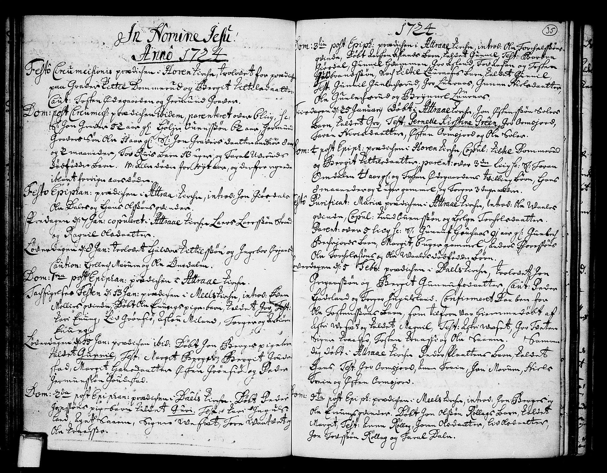 SAKO, Tinn kirkebøker, F/Fa/L0001: Ministerialbok nr. I 1, 1717-1734, s. 35