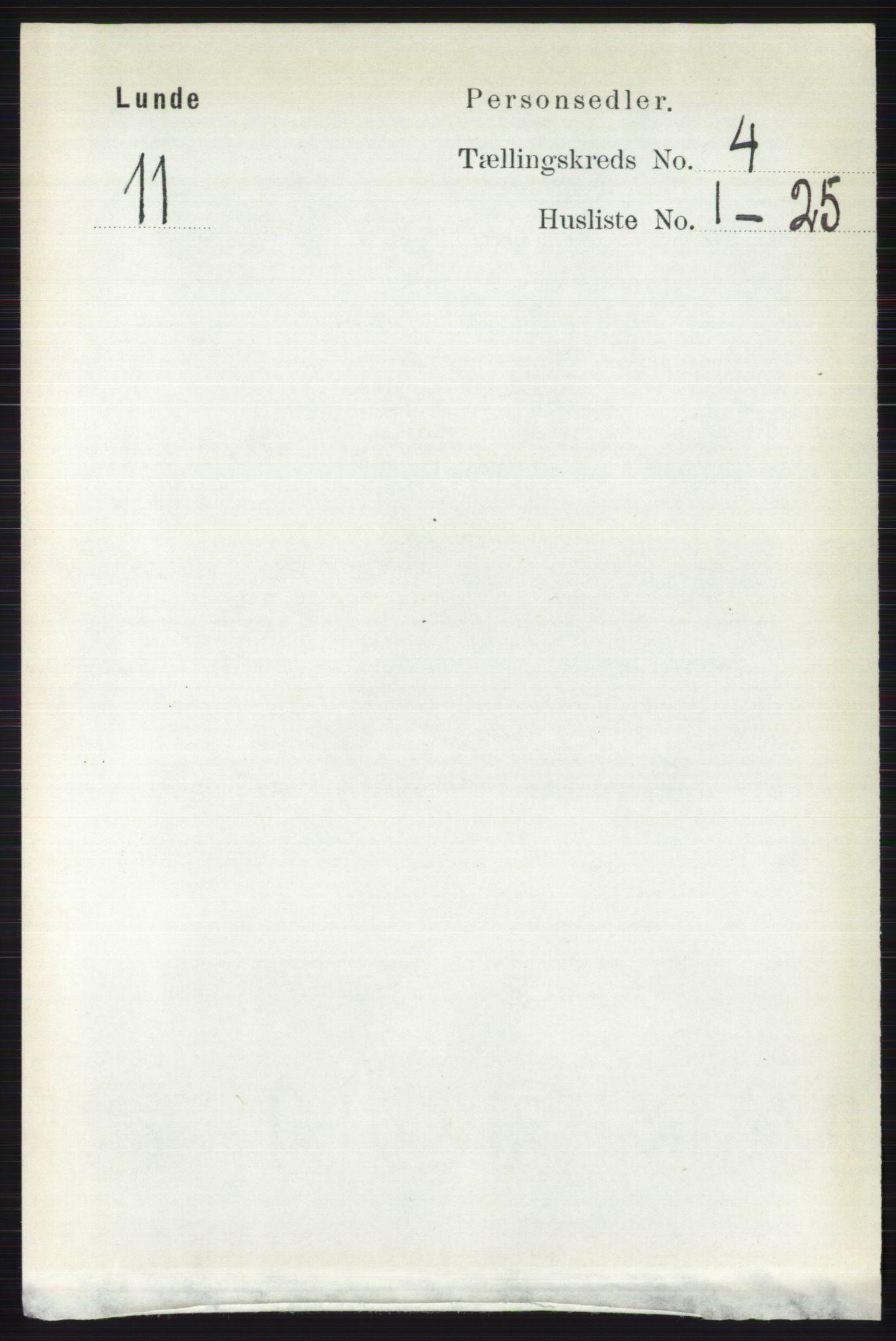 RA, Folketelling 1891 for 0820 Lunde herred, 1891, s. 1148