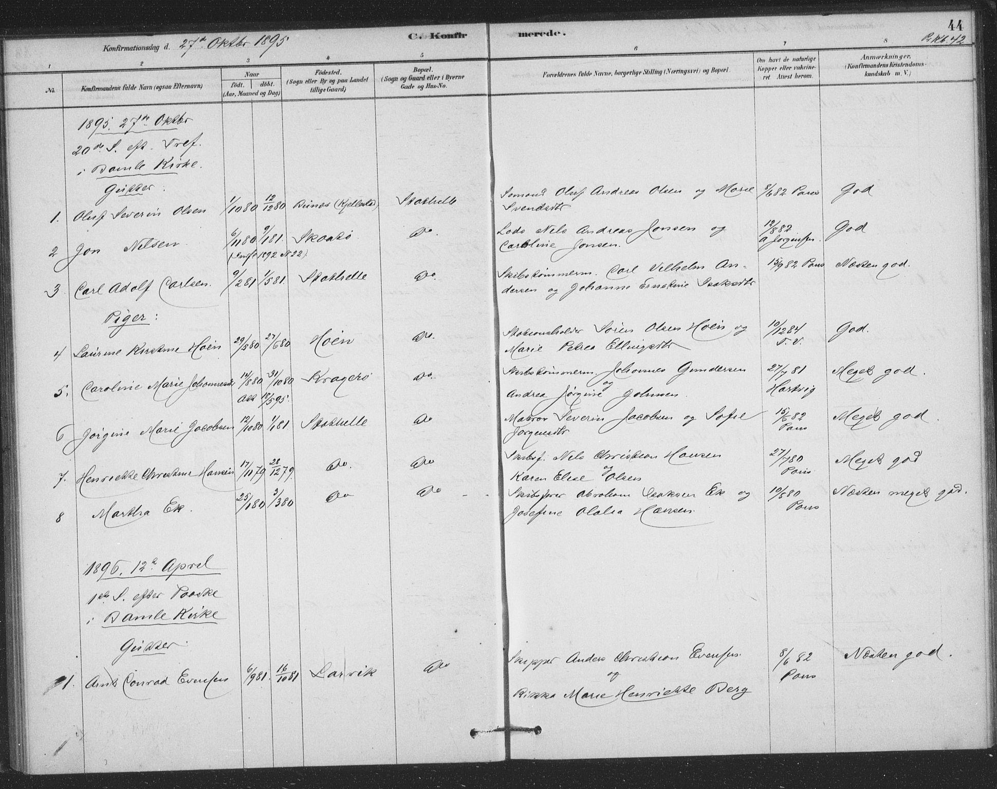 SAKO, Bamble kirkebøker, F/Fb/L0001: Ministerialbok nr. II 1, 1878-1899, s. 44