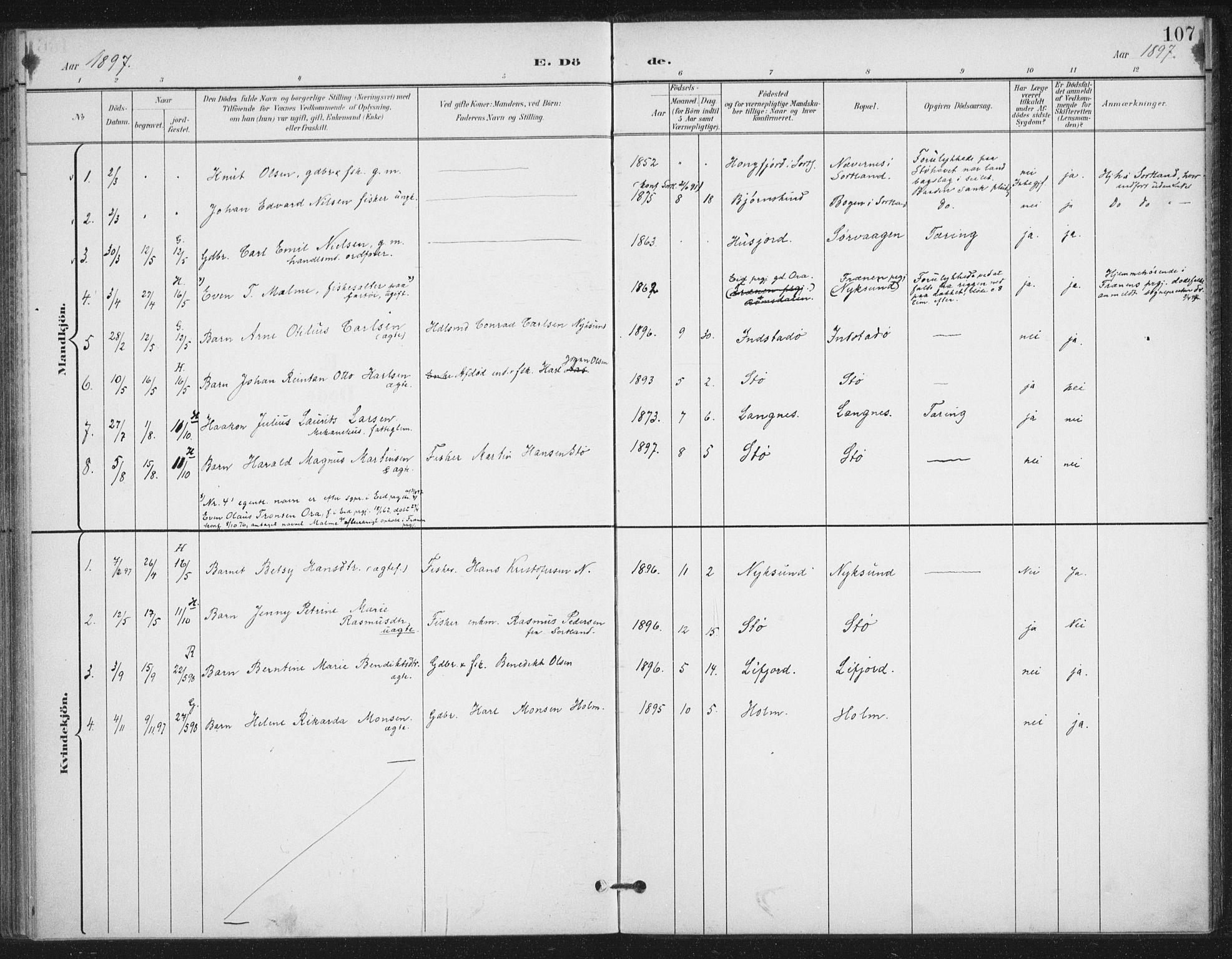 SAT, Ministerialprotokoller, klokkerbøker og fødselsregistre - Nordland, 894/L1356: Ministerialbok nr. 894A02, 1897-1914, s. 107