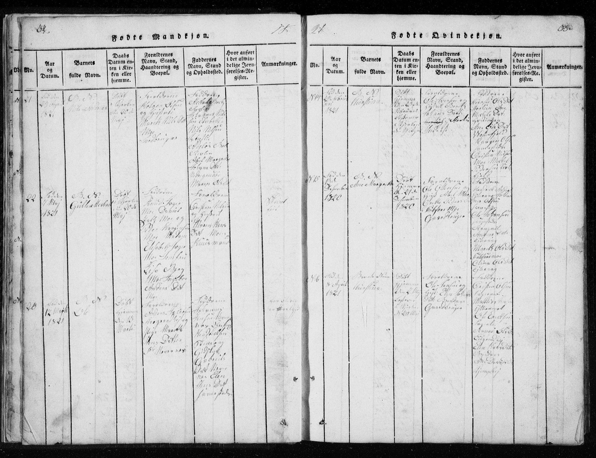 SAT, Ministerialprotokoller, klokkerbøker og fødselsregistre - Nordland, 827/L0412: Klokkerbok nr. 827C01, 1820-1841, s. 32-33