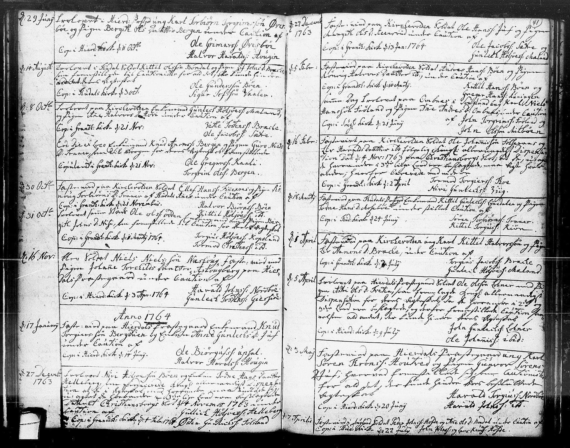 SAKO, Hjartdal kirkebøker, F/Fa/L0004: Ministerialbok nr. I 4, 1727-1795, s. 41