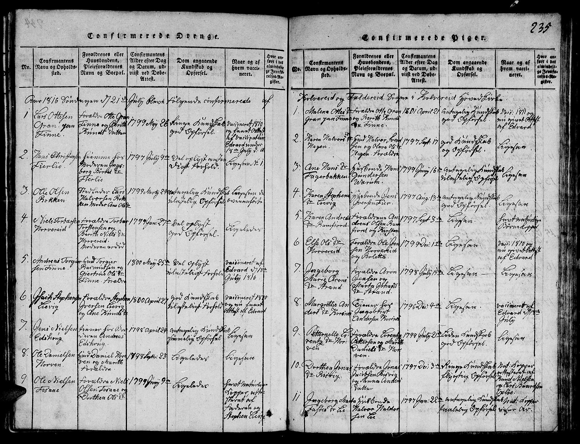 SAT, Ministerialprotokoller, klokkerbøker og fødselsregistre - Nord-Trøndelag, 780/L0648: Klokkerbok nr. 780C01 /1, 1815-1870, s. 235