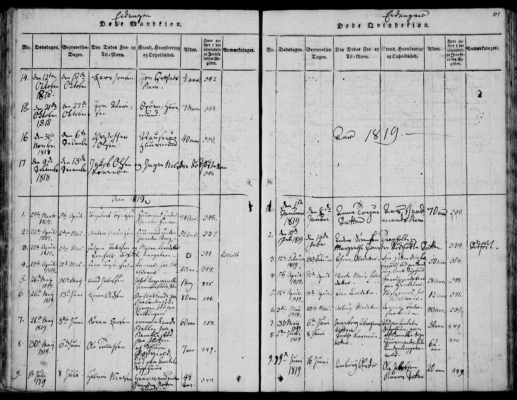 SAKO, Eidanger kirkebøker, F/Fa/L0007: Ministerialbok nr. 7, 1814-1831, s. 101