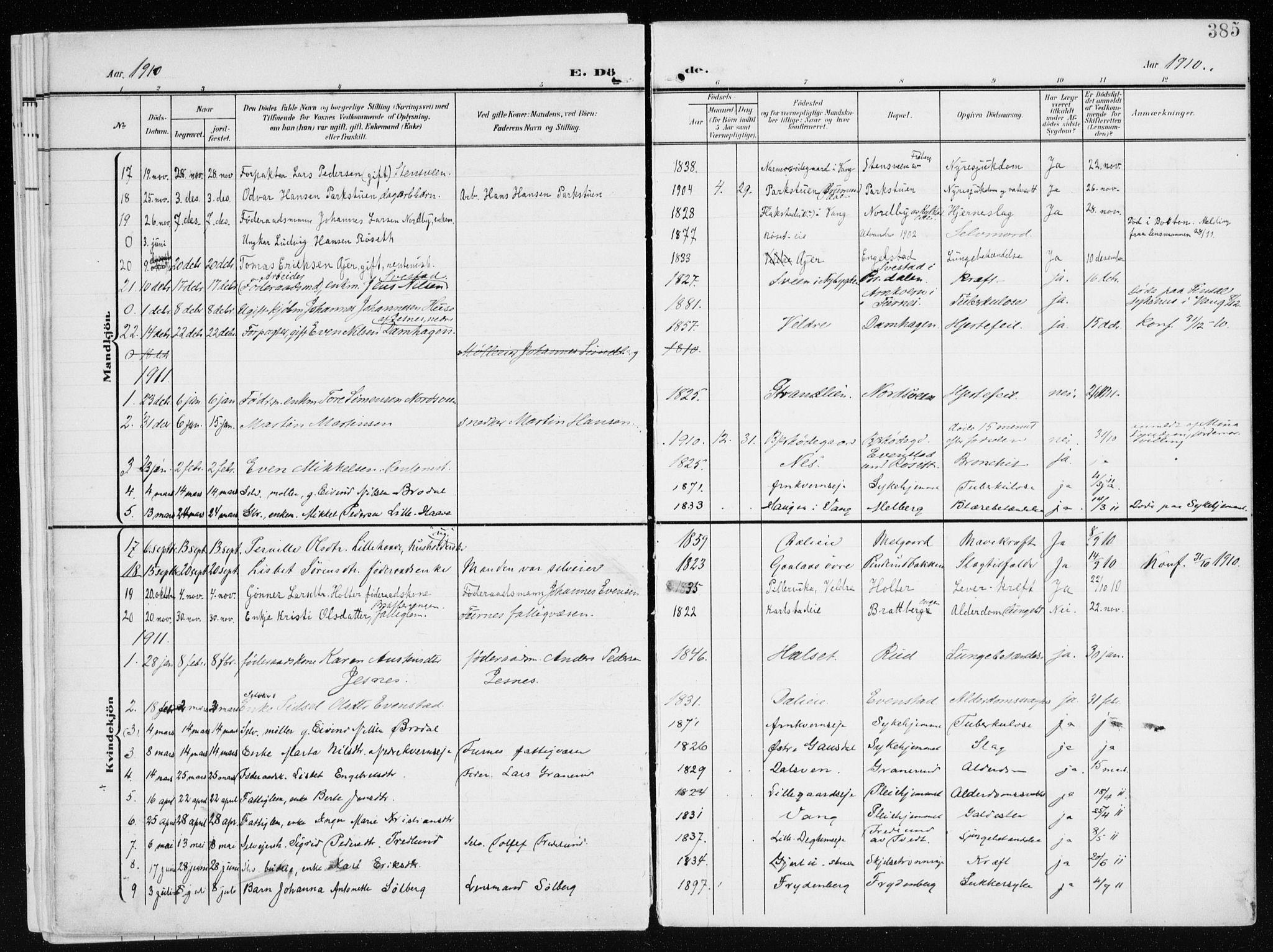 SAH, Furnes prestekontor, K/Ka/L0001: Ministerialbok nr. 1, 1907-1935, s. 385