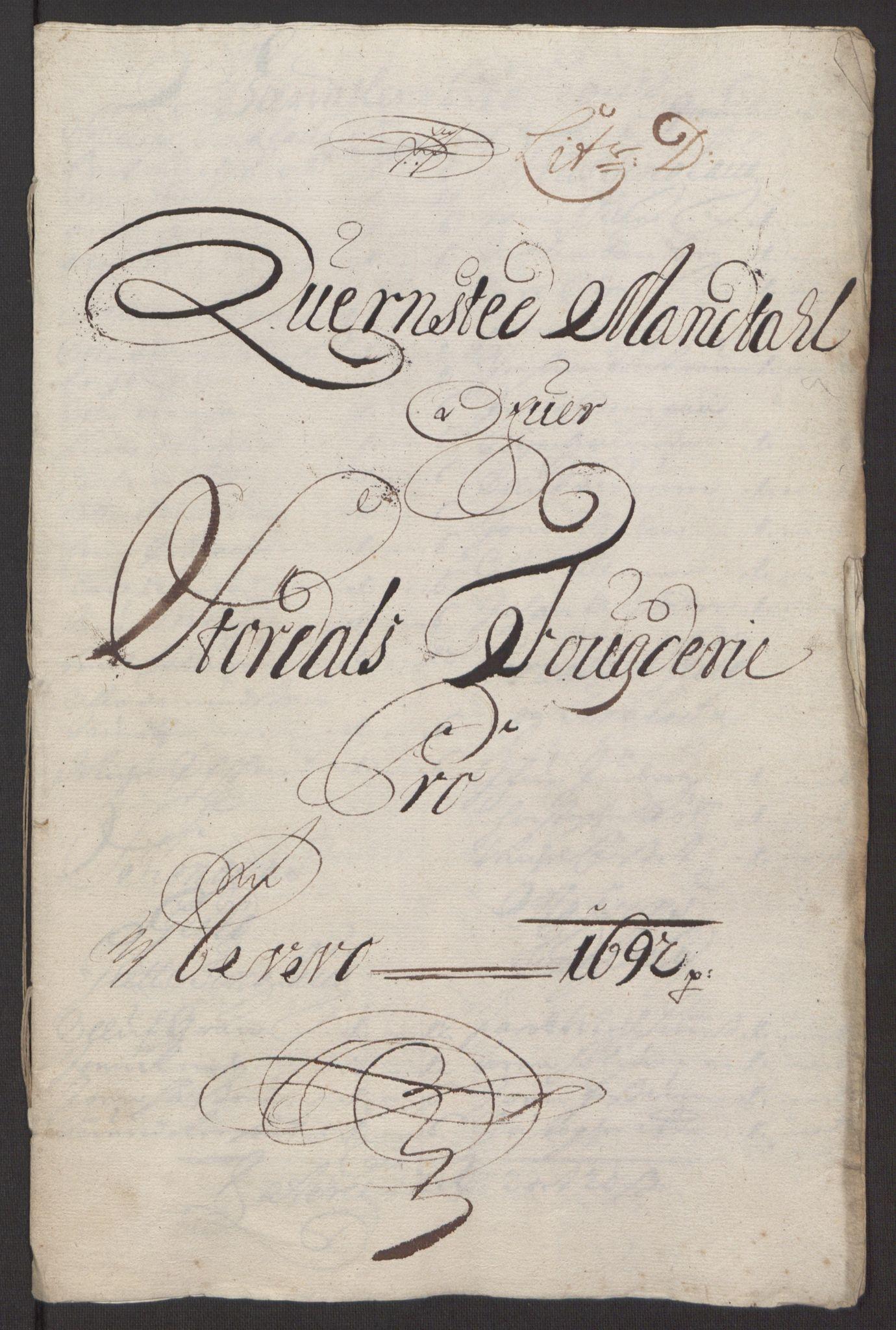 RA, Rentekammeret inntil 1814, Reviderte regnskaper, Fogderegnskap, R62/L4185: Fogderegnskap Stjørdal og Verdal, 1692, s. 92