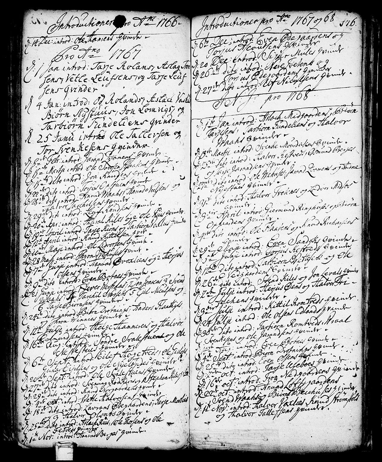 SAKO, Vinje kirkebøker, F/Fa/L0001: Ministerialbok nr. I 1, 1717-1766, s. 176