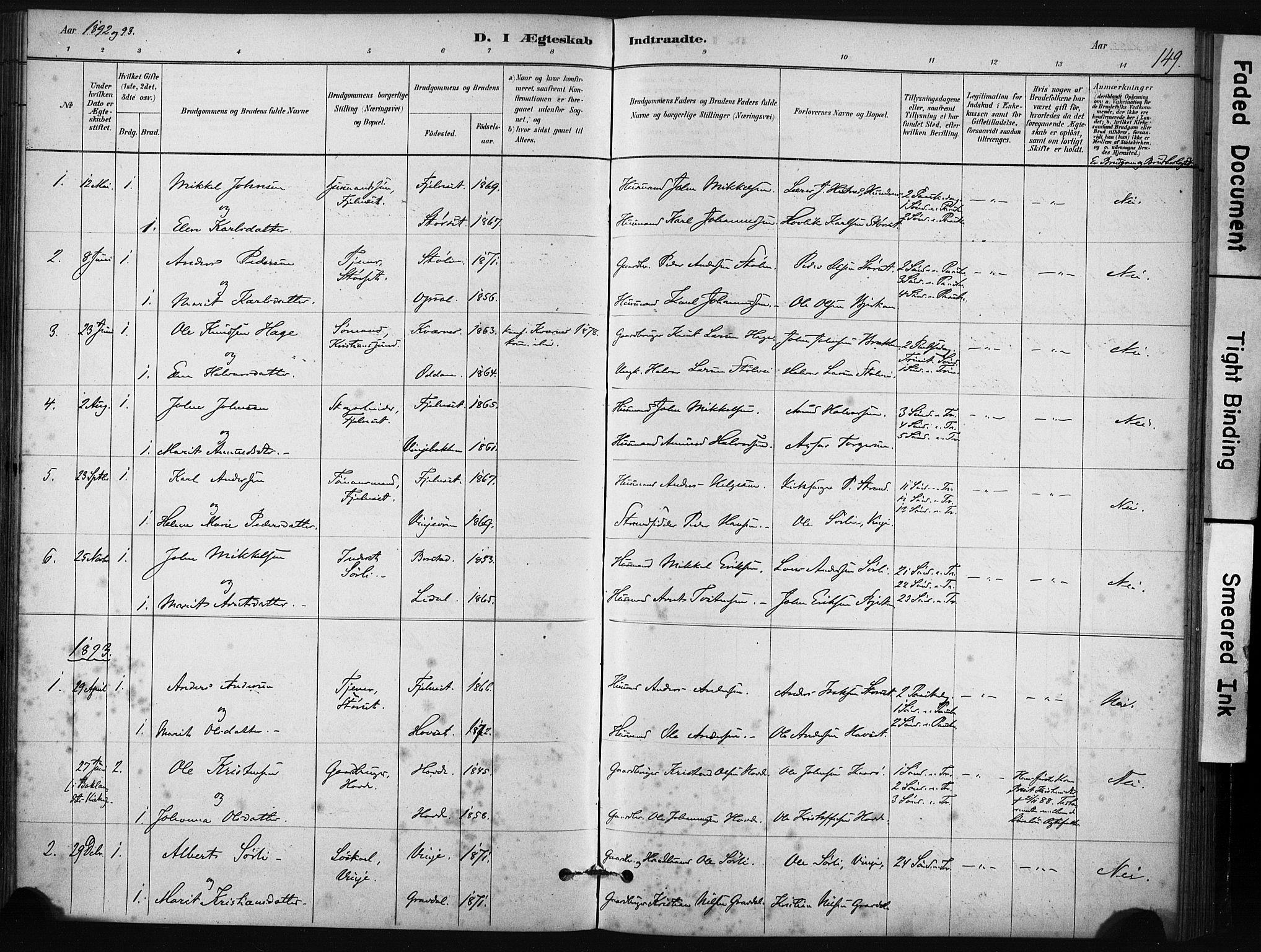 SAT, Ministerialprotokoller, klokkerbøker og fødselsregistre - Sør-Trøndelag, 631/L0512: Ministerialbok nr. 631A01, 1879-1912, s. 149