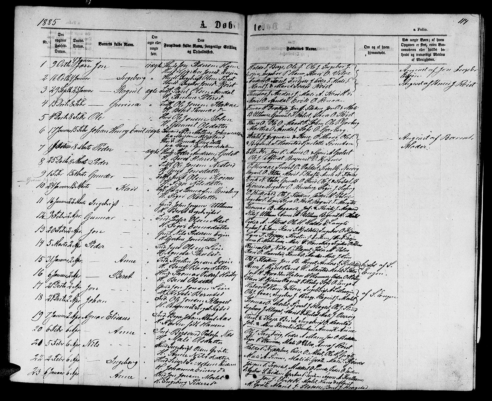 SAT, Ministerialprotokoller, klokkerbøker og fødselsregistre - Sør-Trøndelag, 695/L1156: Klokkerbok nr. 695C07, 1869-1888, s. 114