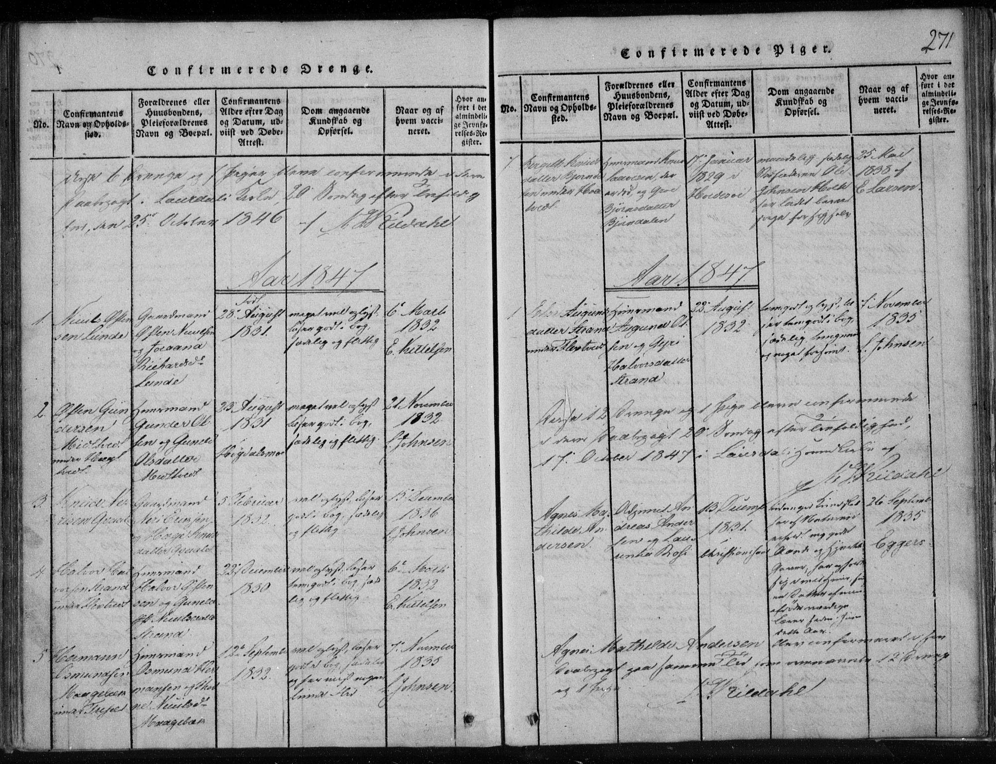SAKO, Lårdal kirkebøker, F/Fa/L0005: Ministerialbok nr. I 5, 1815-1860, s. 271