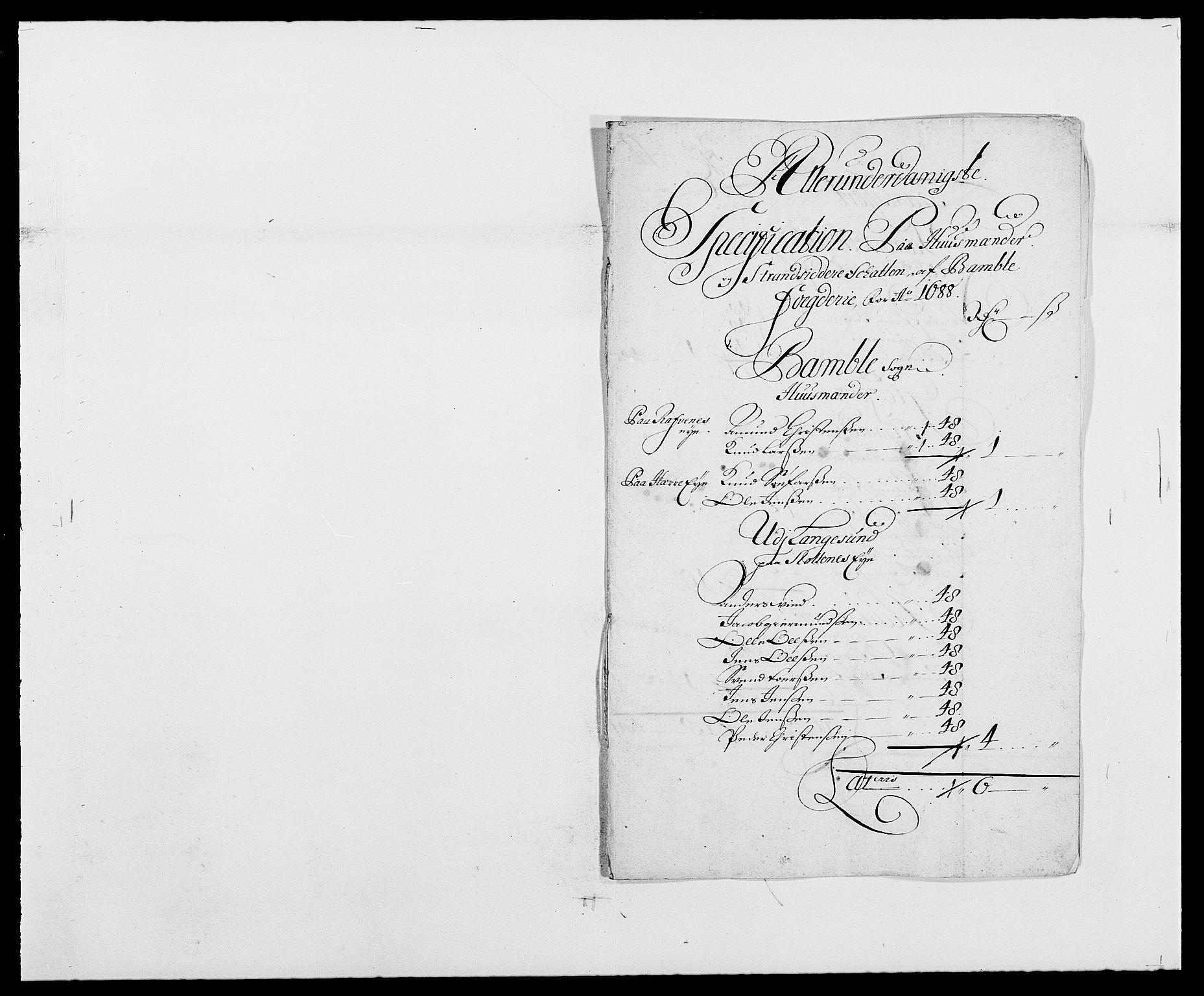 RA, Rentekammeret inntil 1814, Reviderte regnskaper, Fogderegnskap, R34/L2050: Fogderegnskap Bamble, 1688-1691, s. 120