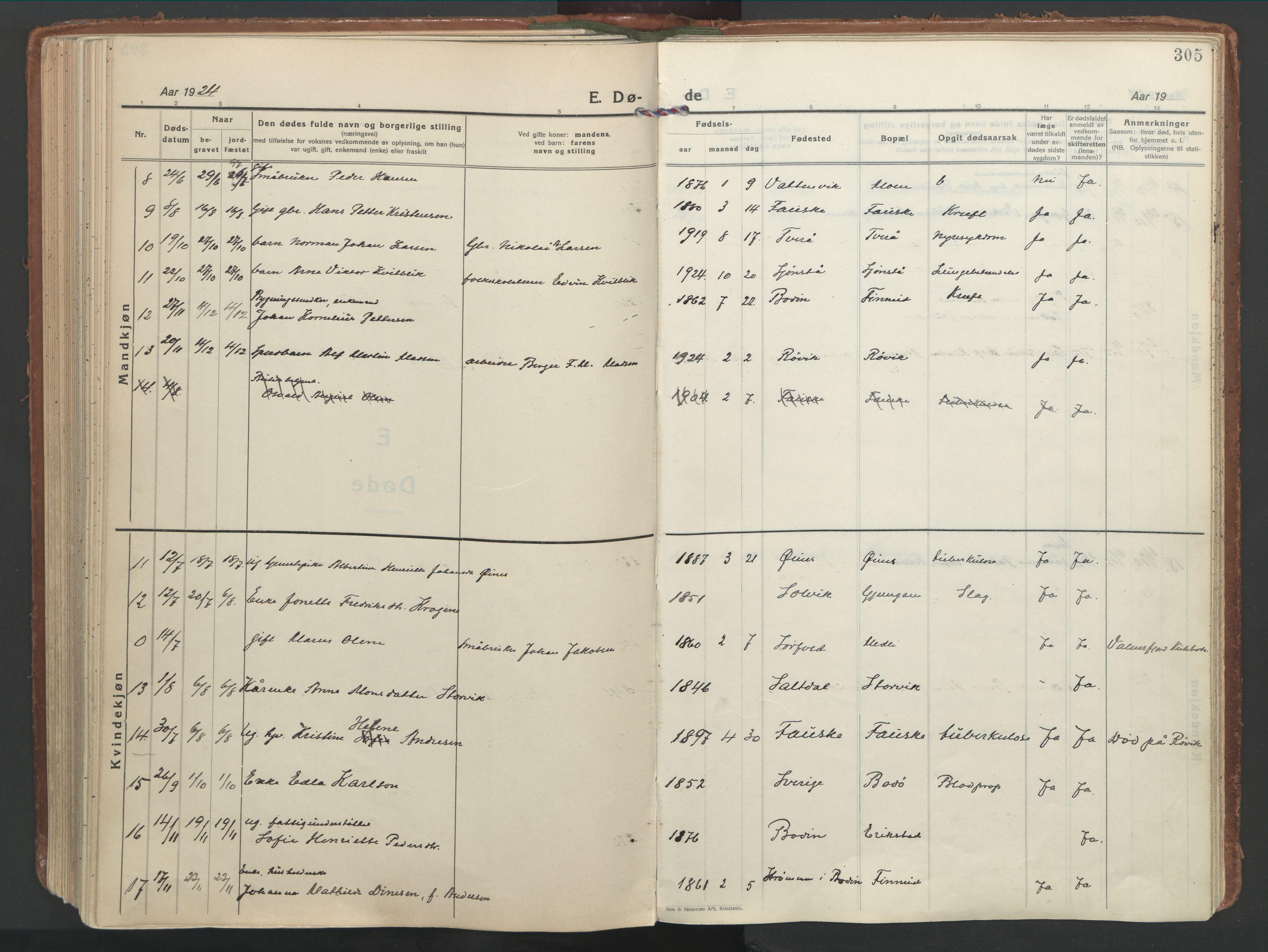 SAT, Ministerialprotokoller, klokkerbøker og fødselsregistre - Nordland, 849/L0699: Ministerialbok nr. 849A10, 1924-1937, s. 305