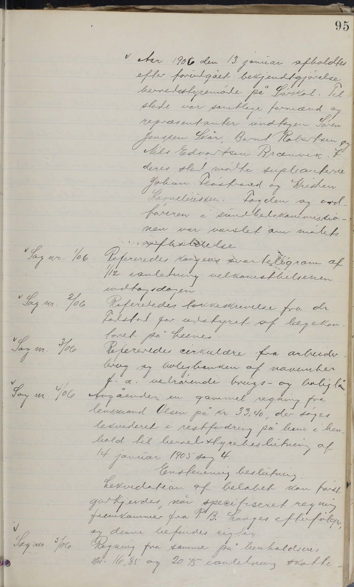 AIN, Leiranger kommune. Formannskapet, 100/L0001: Møtebok, 1900-1913, s. 95