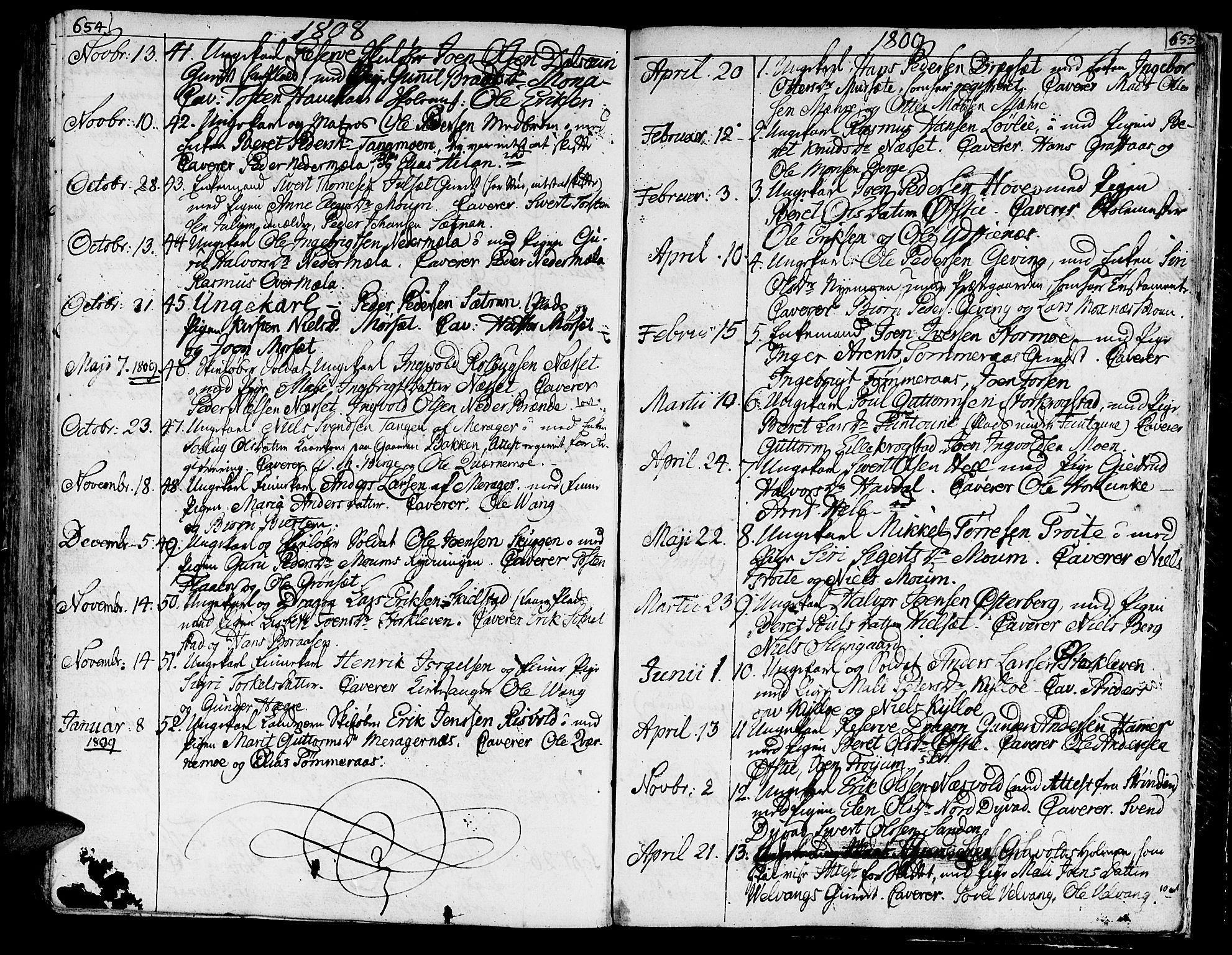 SAT, Ministerialprotokoller, klokkerbøker og fødselsregistre - Nord-Trøndelag, 709/L0060: Ministerialbok nr. 709A07, 1797-1815, s. 654-655