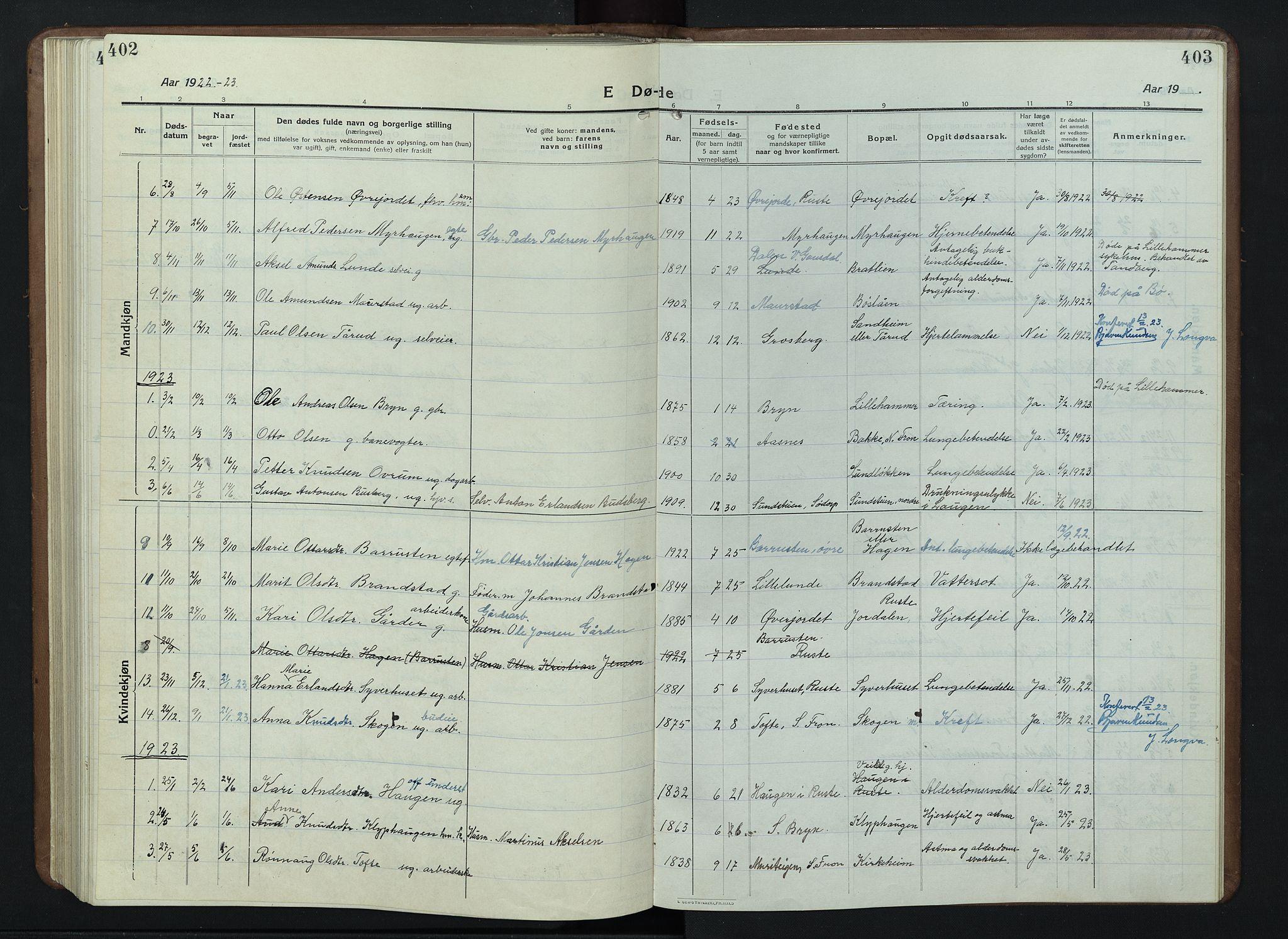 SAH, Nord-Fron prestekontor, Klokkerbok nr. 7, 1915-1946, s. 402-403