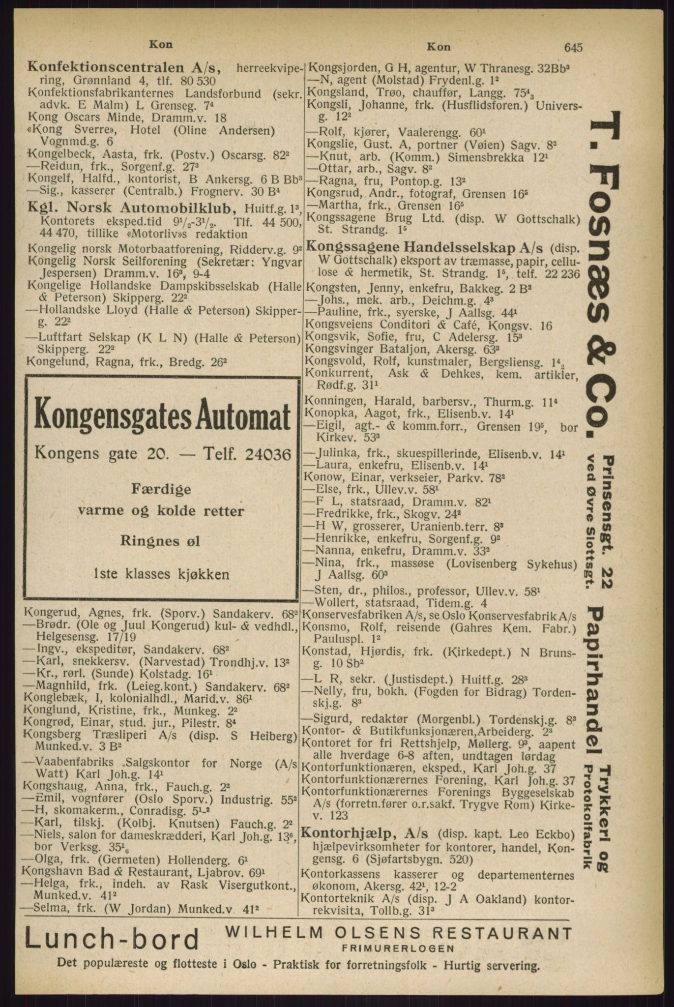 RA, Oslo adressebok (publikasjon)*, 1927, s. 645