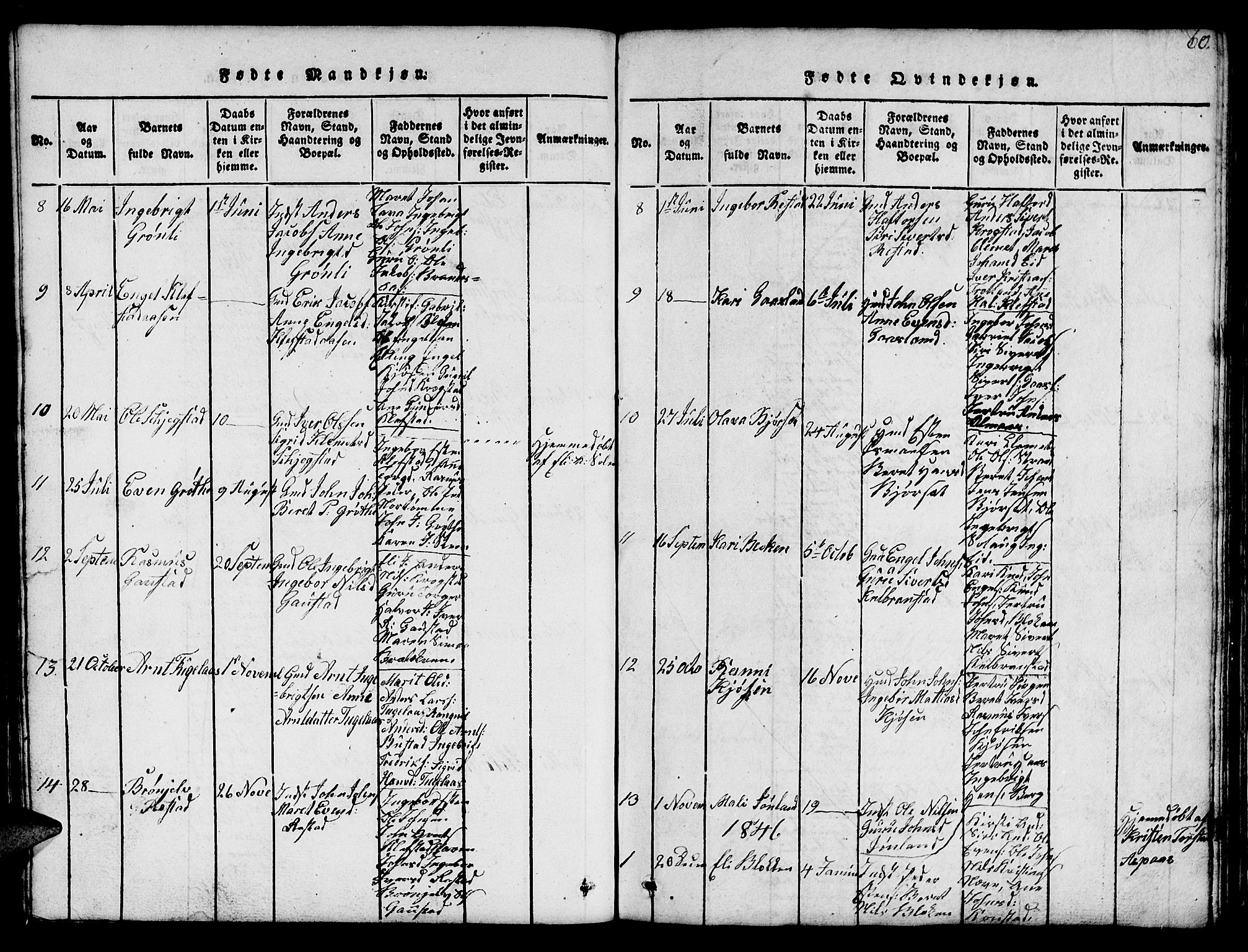 SAT, Ministerialprotokoller, klokkerbøker og fødselsregistre - Sør-Trøndelag, 694/L1130: Klokkerbok nr. 694C02, 1816-1857, s. 60