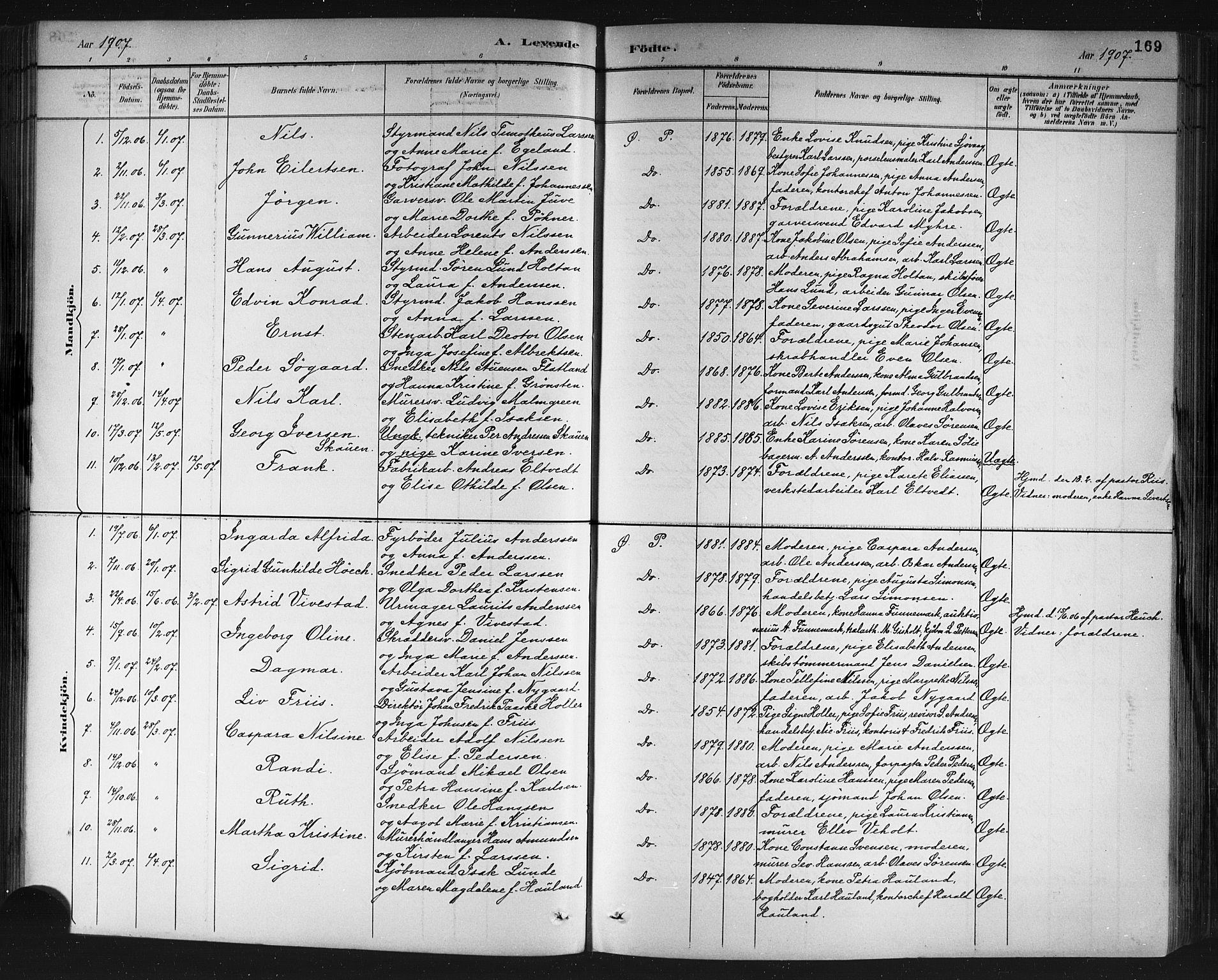 SAKO, Porsgrunn kirkebøker , G/Gb/L0005: Klokkerbok nr. II 5, 1883-1915, s. 169