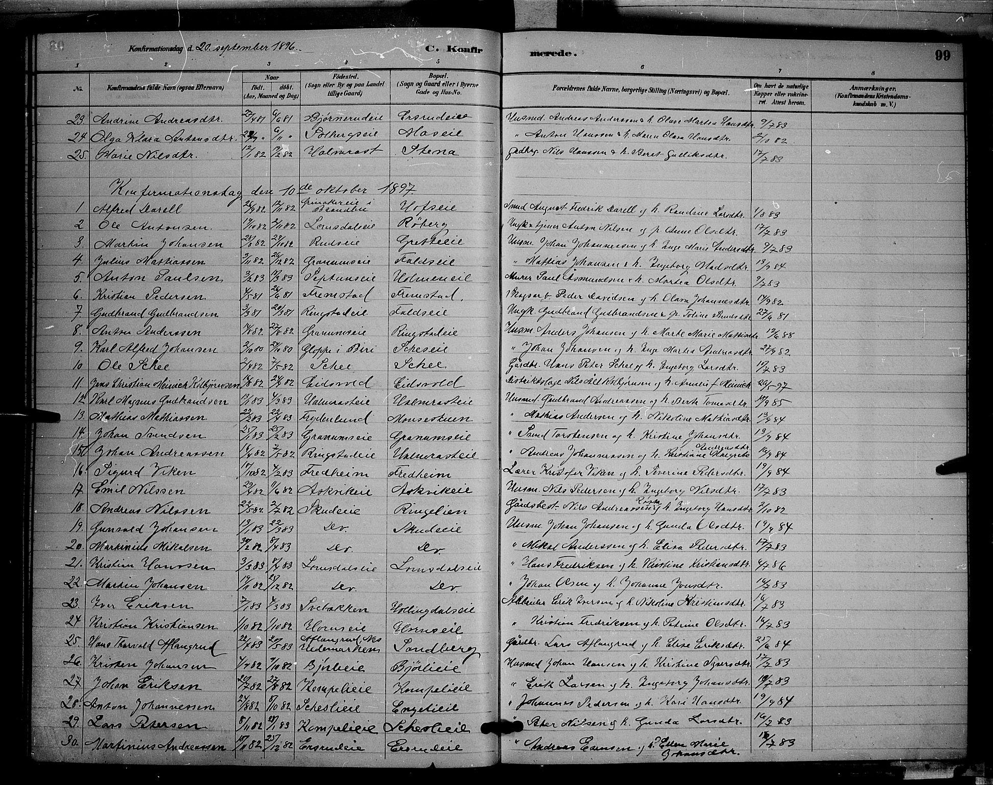 SAH, Søndre Land prestekontor, L/L0002: Klokkerbok nr. 2, 1884-1900, s. 99